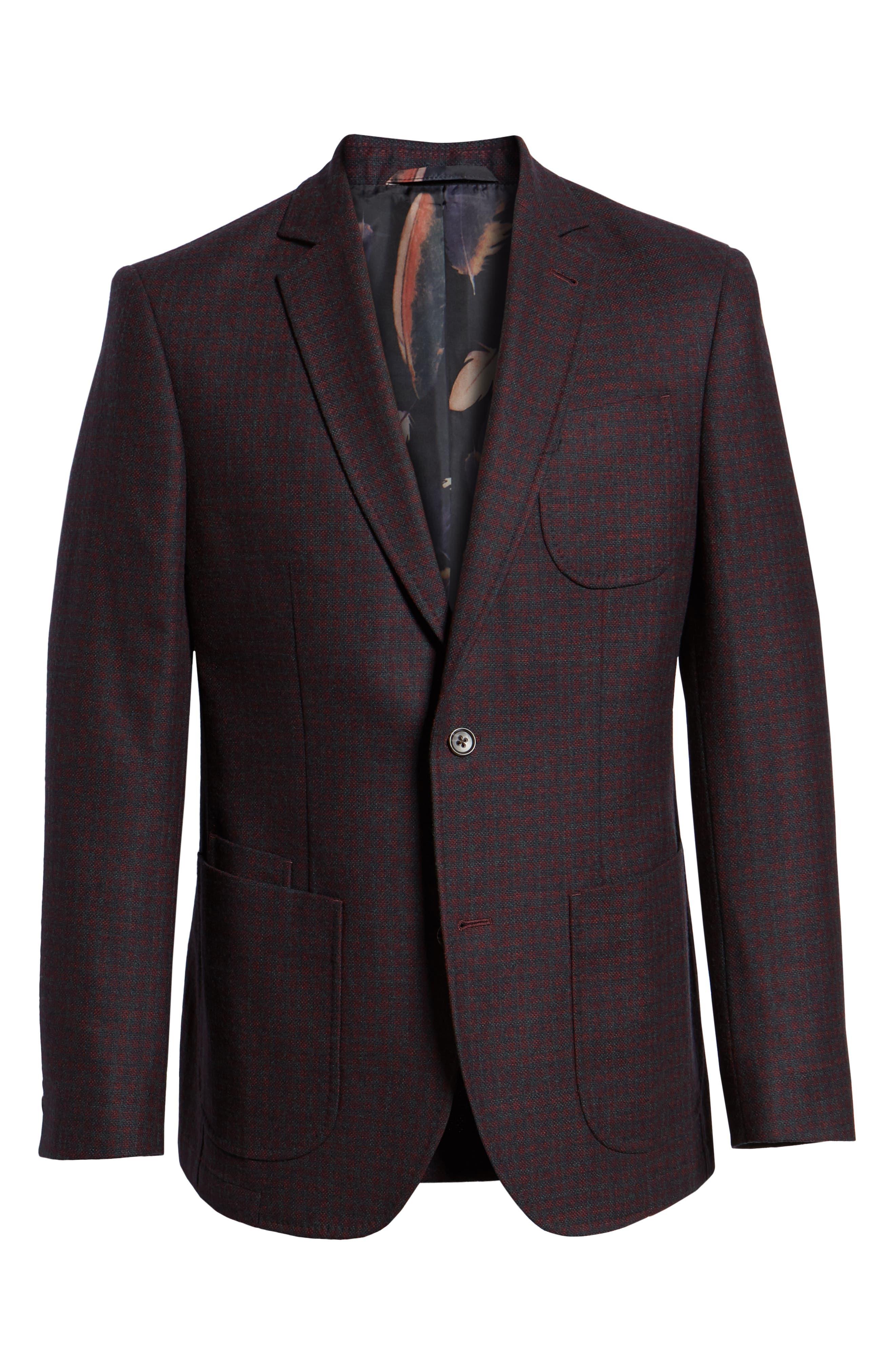 Regular Fit Wool Blend Sport Coat,                             Alternate thumbnail 5, color,                             RED