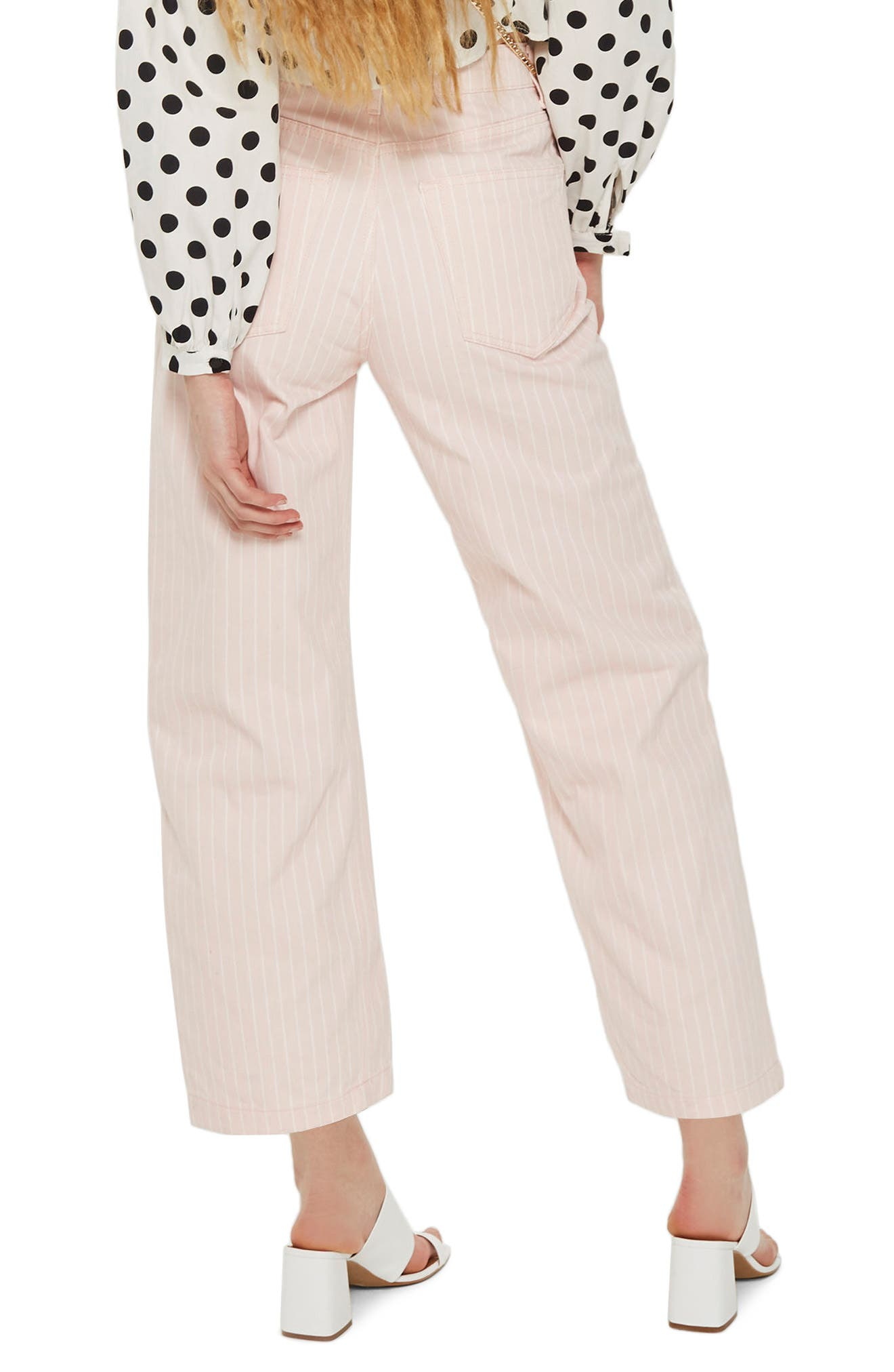 Pink Stripe Wide Leg Crop Jeans,                             Alternate thumbnail 2, color,                             650