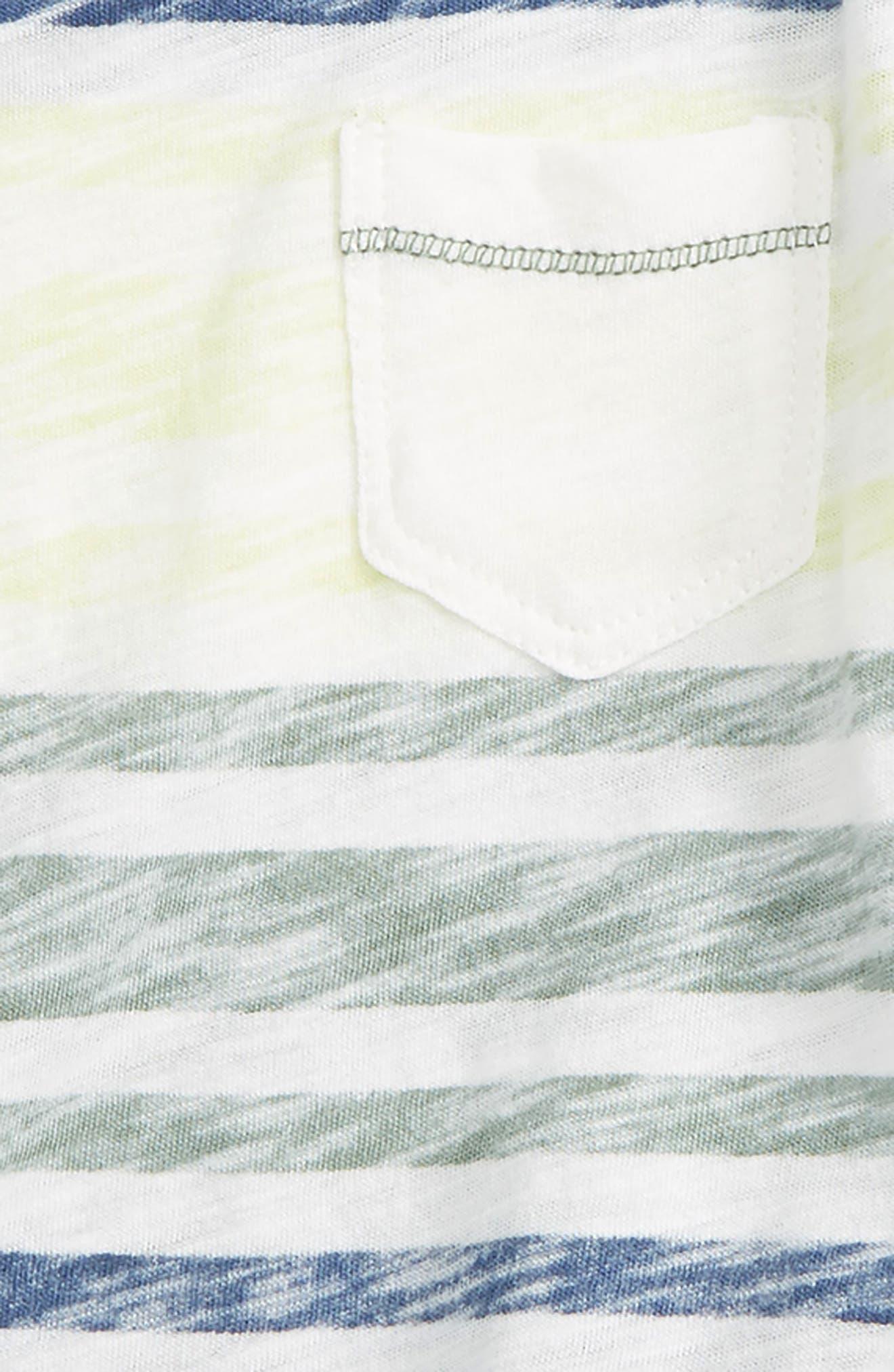 Reverse Stripe Top & Shorts Set,                             Alternate thumbnail 3, color,                             100