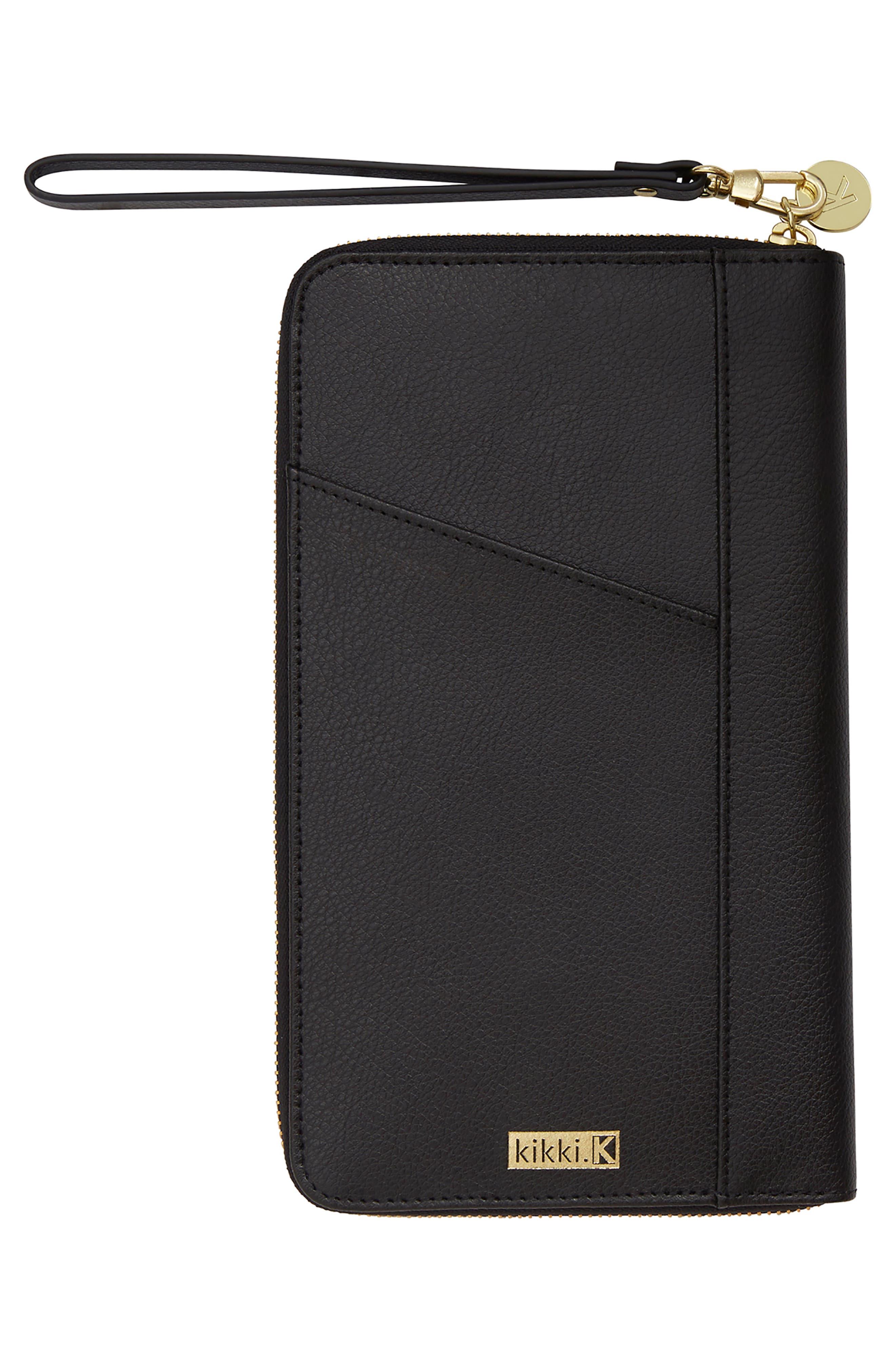 Leather Zip-Around Travel Wallet,                             Alternate thumbnail 2, color,                             JET BLACK