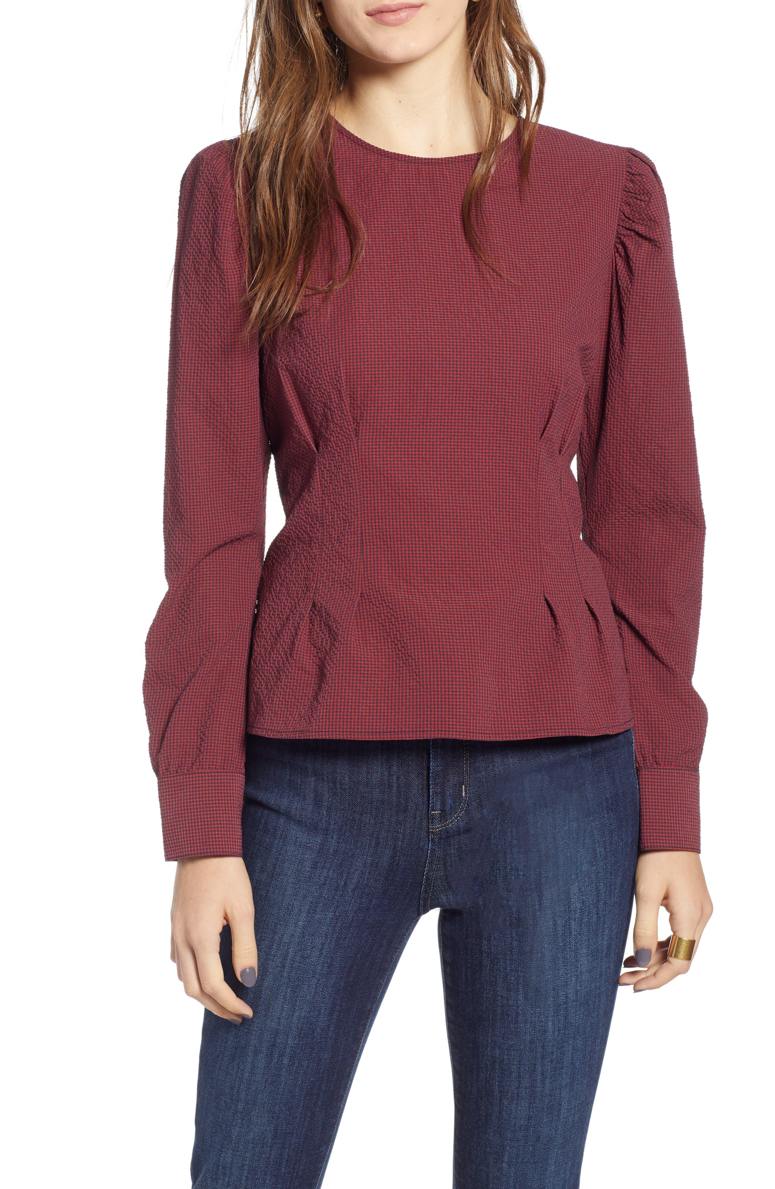 TREASURE & BOND Mini Gingham Puff Sleeve Top, Main, color, 610