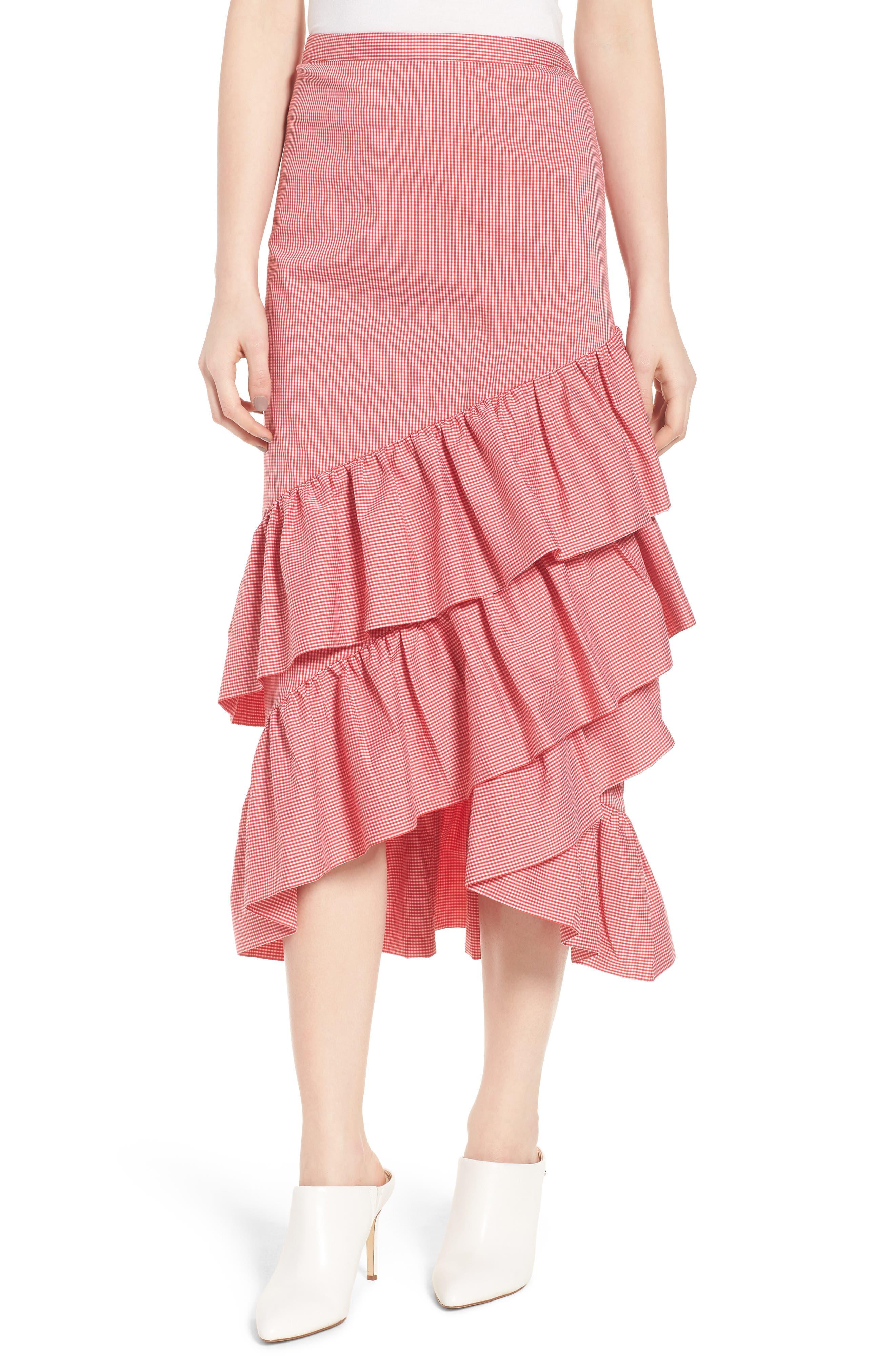 Gingham Ruffle Skirt,                             Main thumbnail 2, color,
