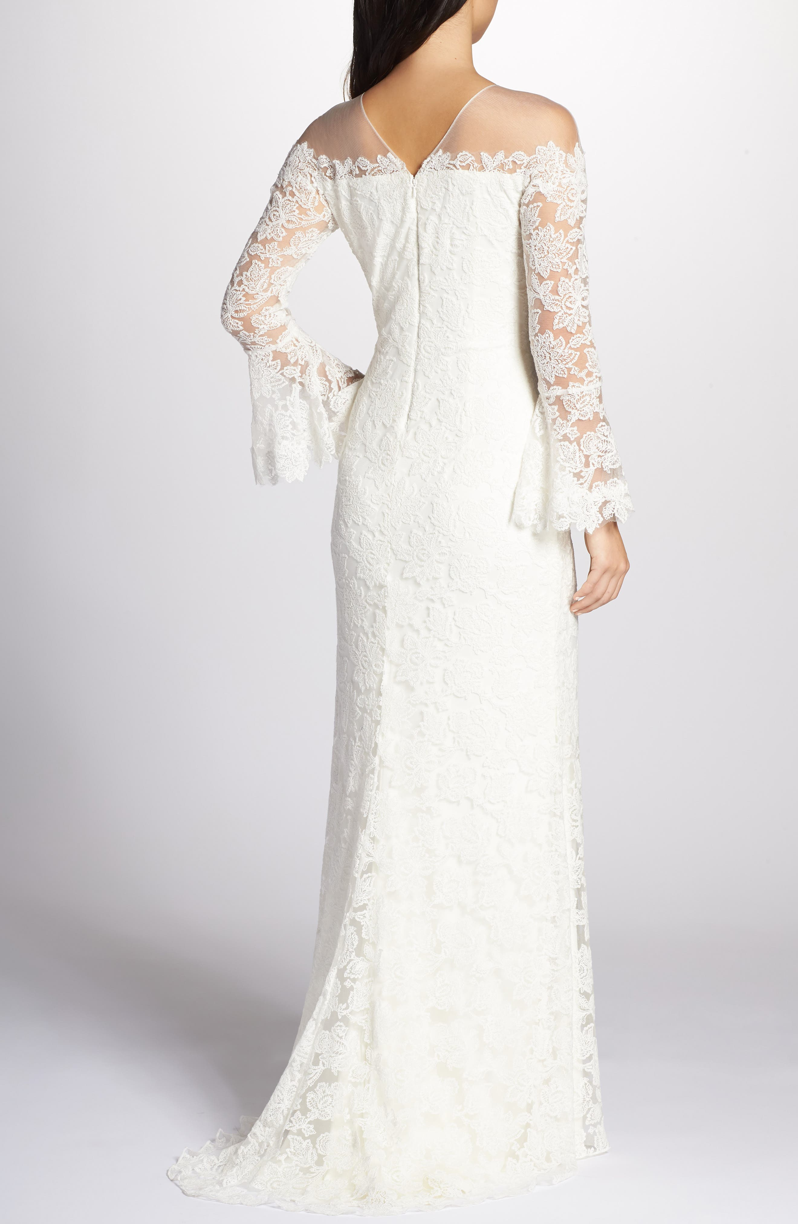 Bell Sleeve Lace Gown,                             Alternate thumbnail 2, color,                             IVORY
