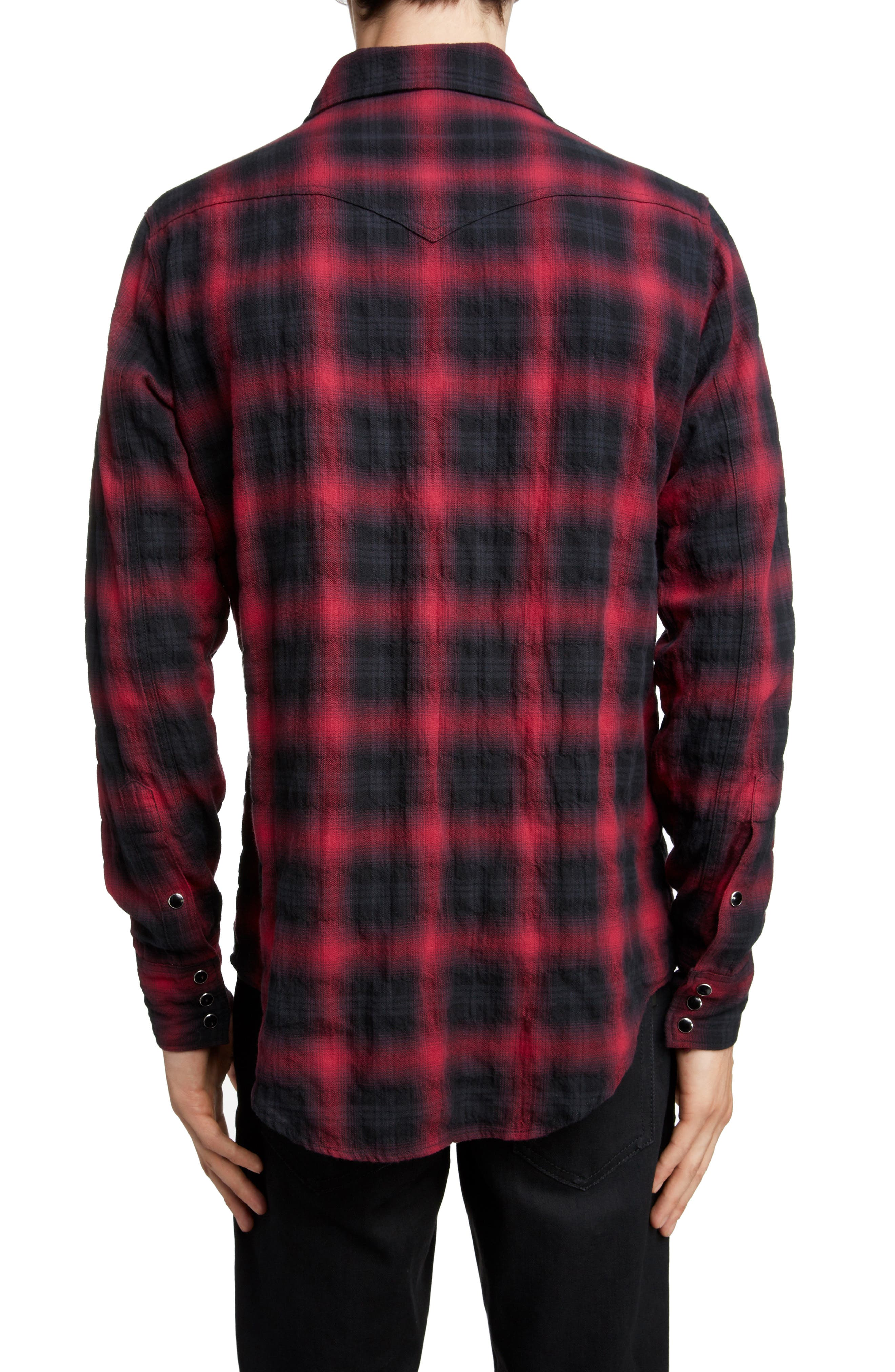 Classic Fit Check Western Shirt,                             Alternate thumbnail 3, color,                             BLACK AND RED CHECK