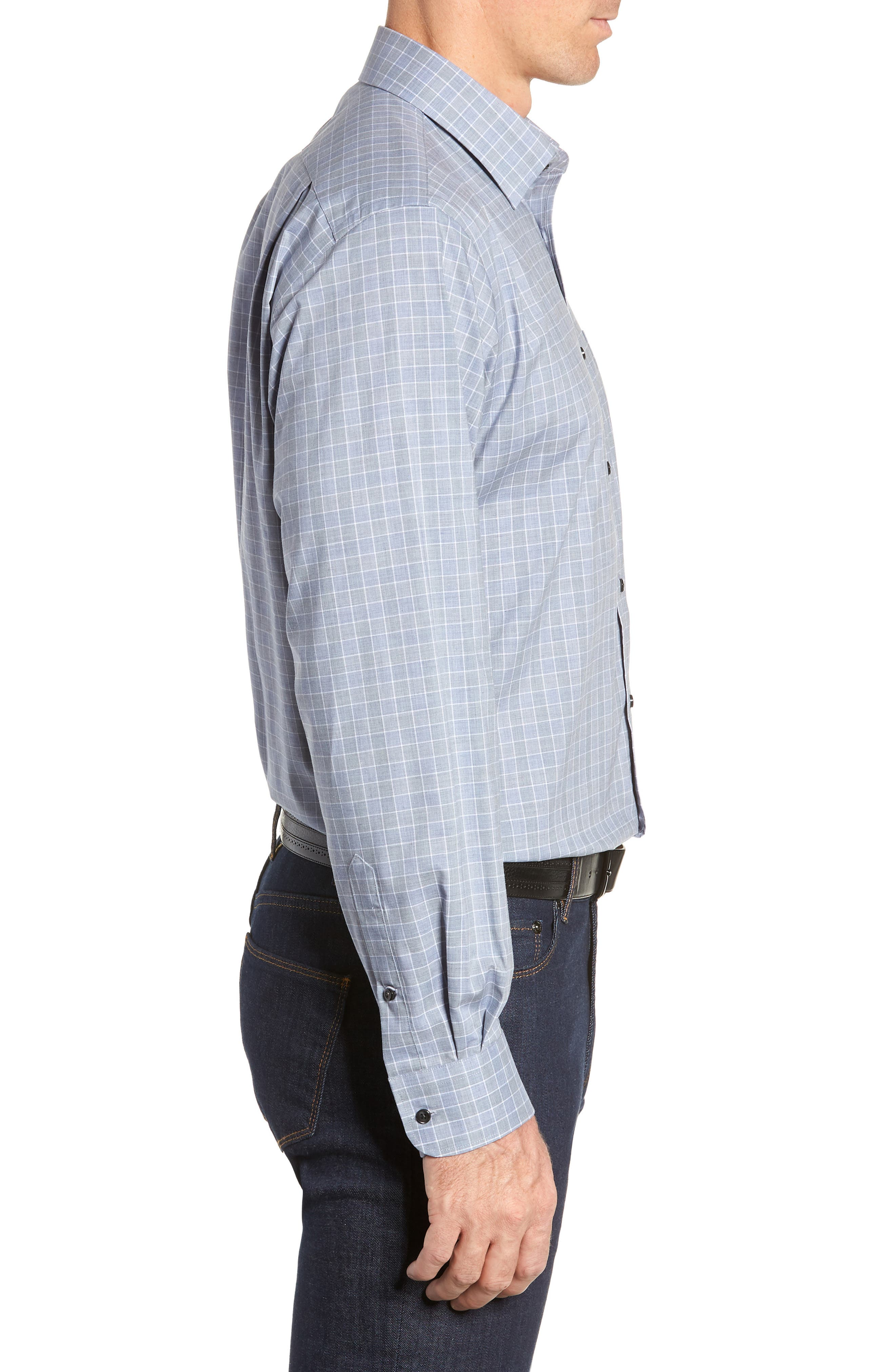 Traditional Fit No-Iron Check Dress Shirt,                             Alternate thumbnail 4, color,                             BLUE INFINITY