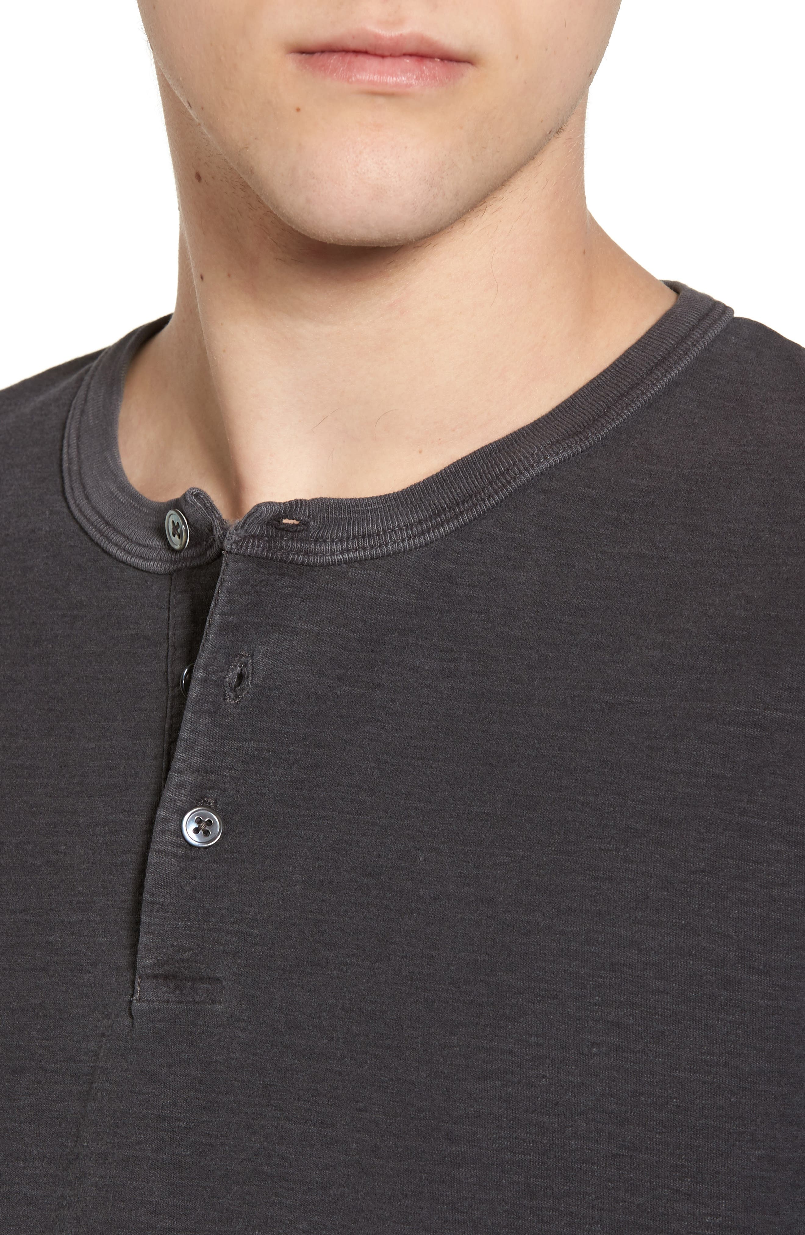 Regular Fit Micro Stripe Henley Shirt,                             Alternate thumbnail 4, color,                             020