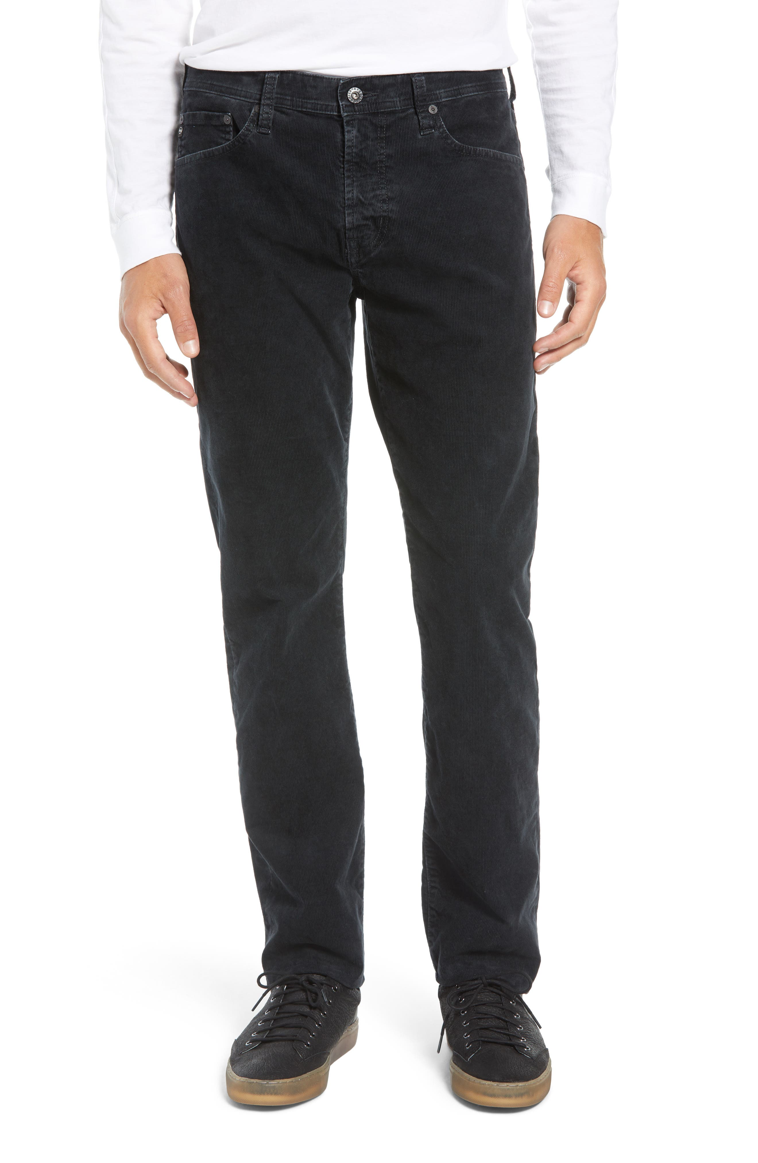 Everett Straight Leg Corduroy Pants,                         Main,                         color, SULFUR ASH BLACK