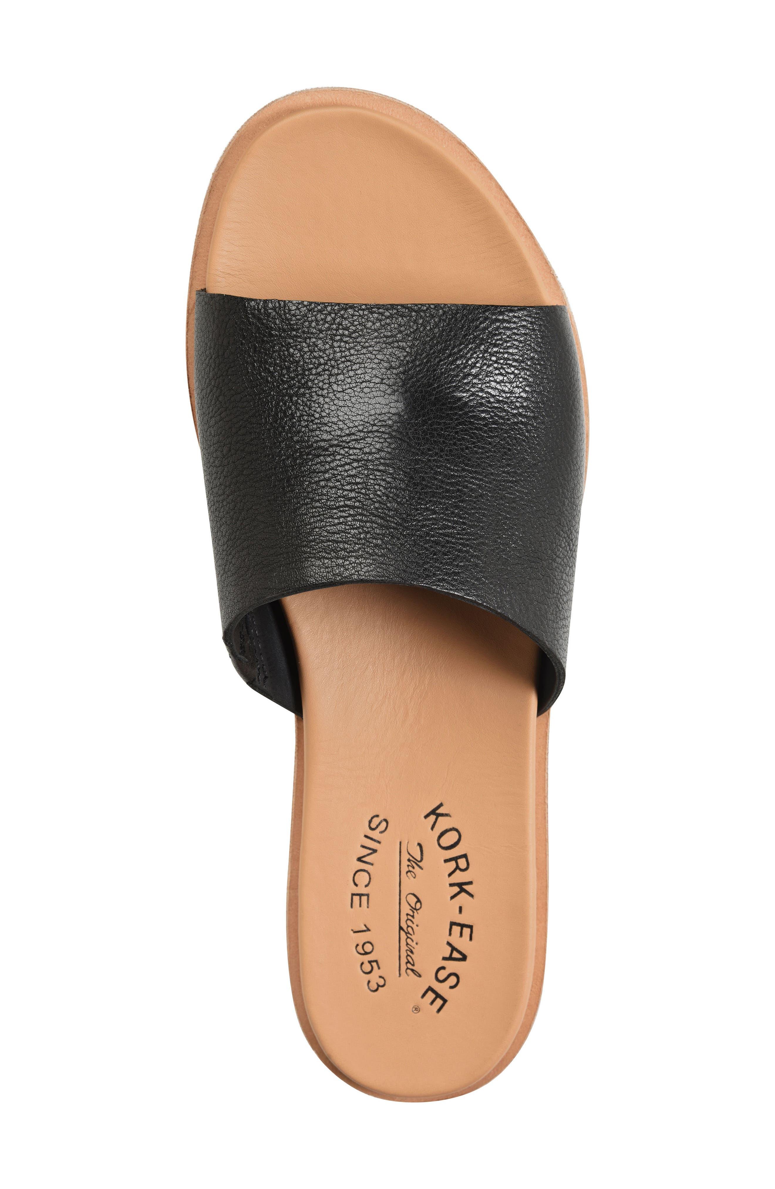 Gila Slide Sandal,                             Alternate thumbnail 5, color,                             BLACK LEATHER