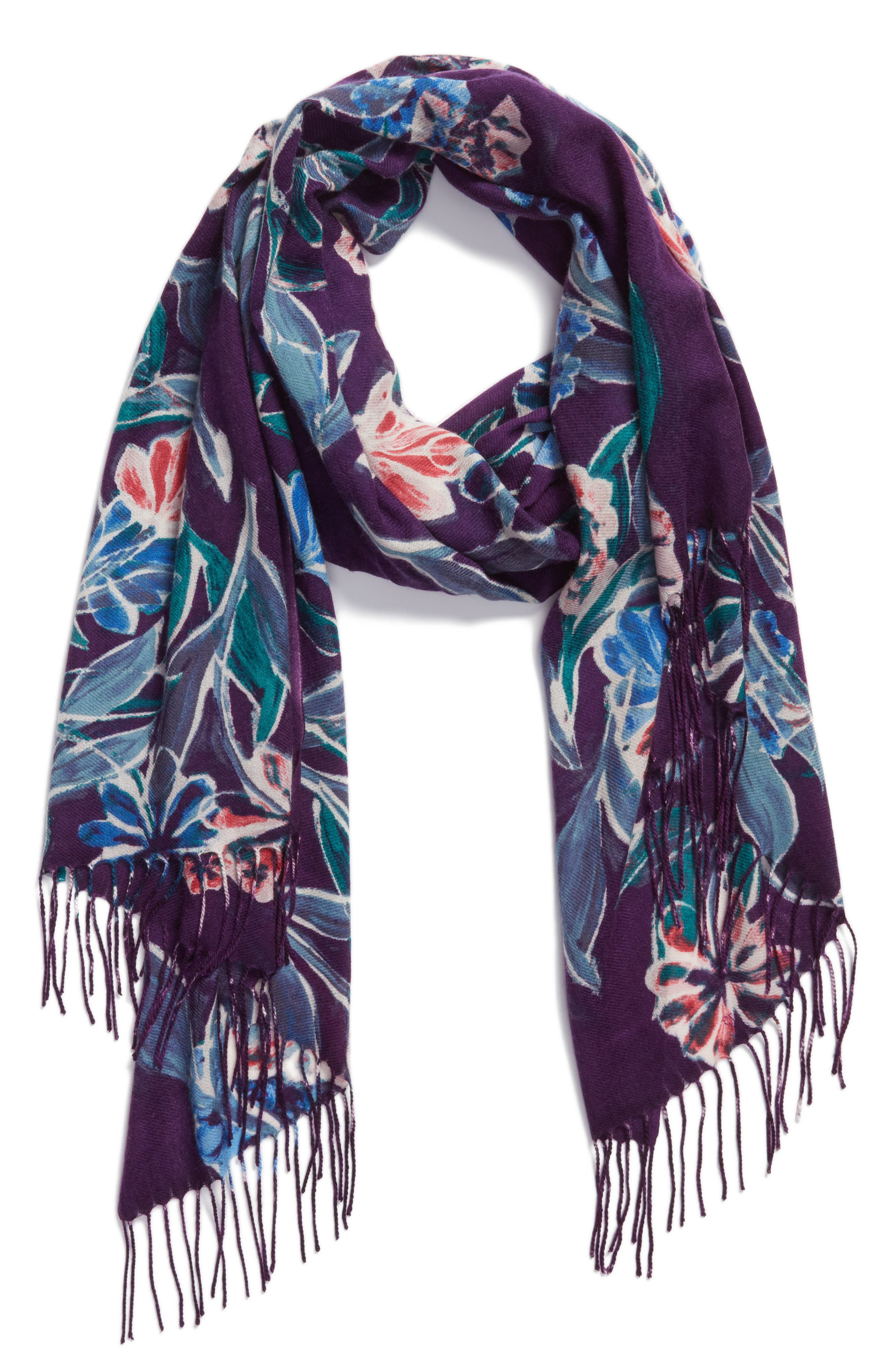 Pressed Flowers Tissue Weight Wool & Cashmere Scarf,                             Alternate thumbnail 6, color,