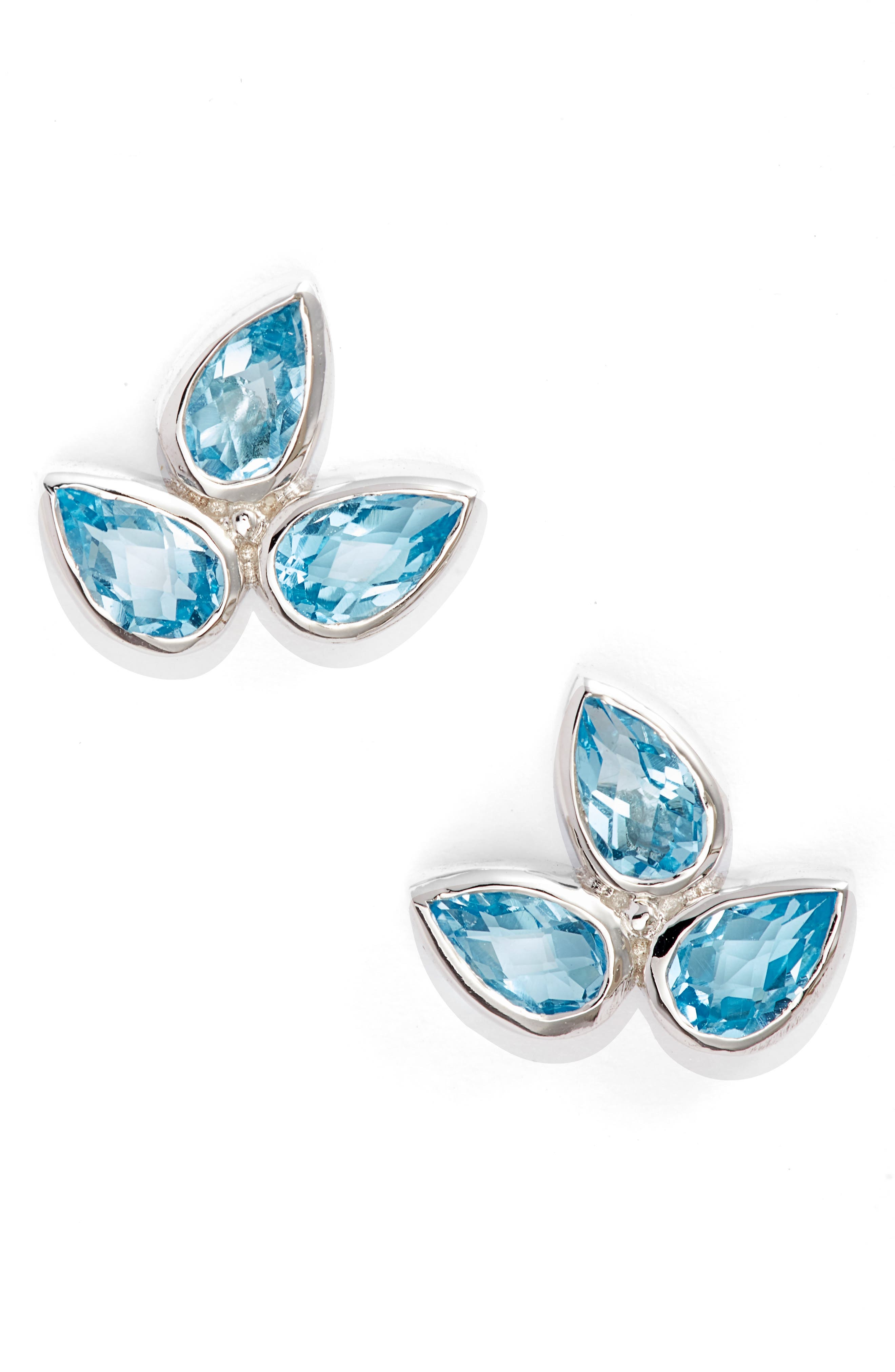 Micro Bouquet White Topaz Post Earrings,                             Main thumbnail 1, color,                             BLUE TOPAZ