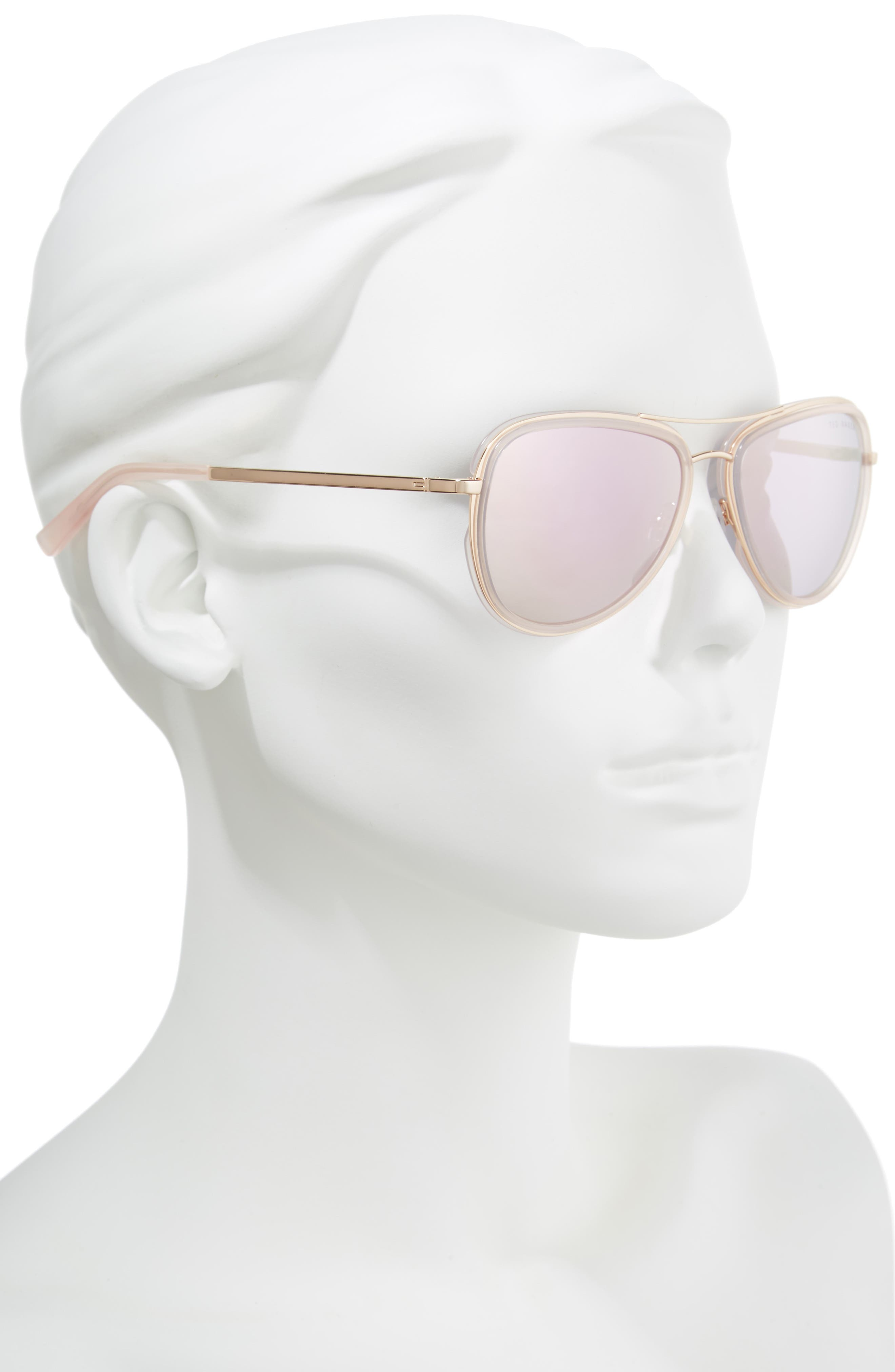 Combination 57mm Aviator Sunglasses,                             Alternate thumbnail 4, color,