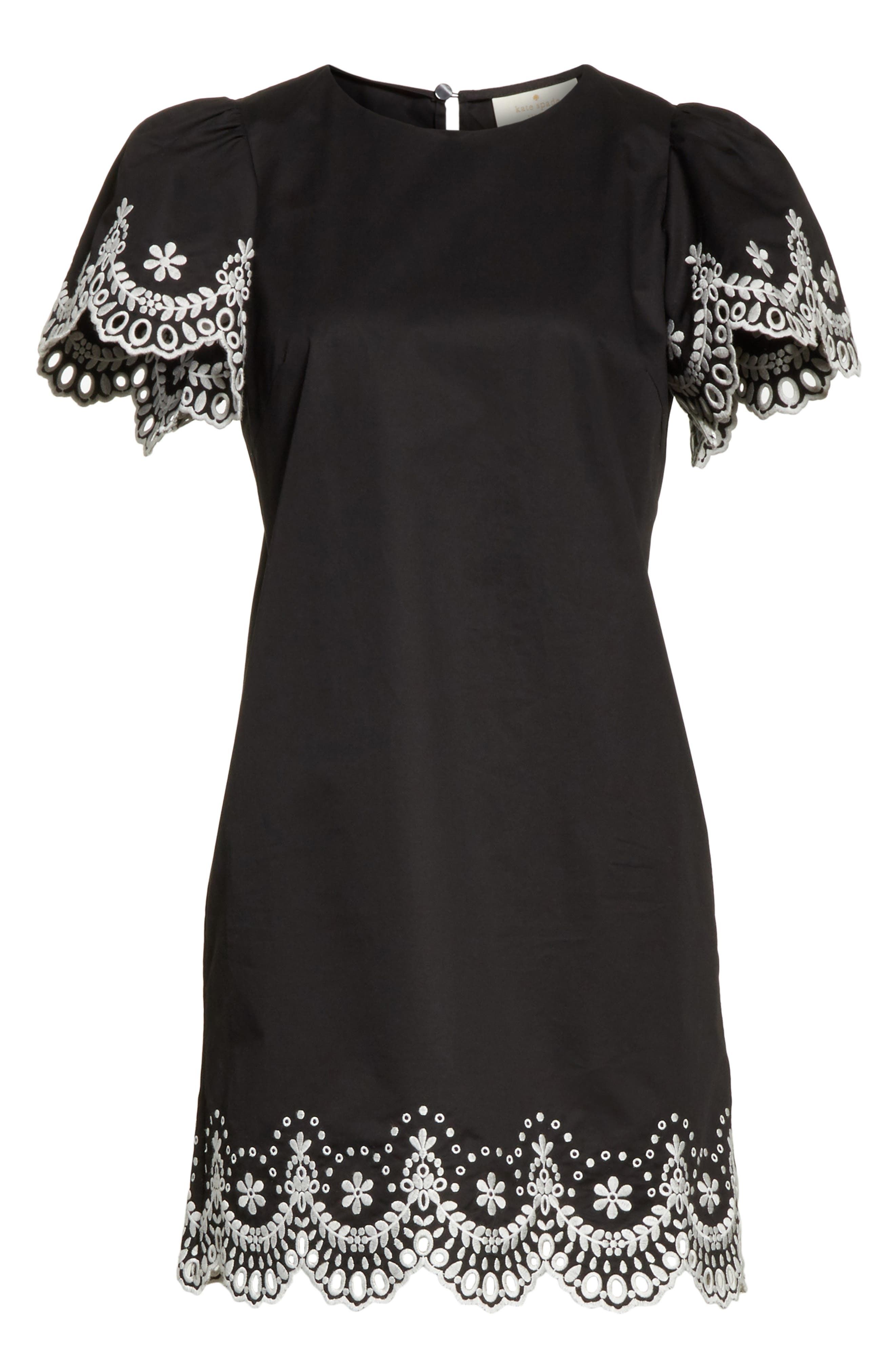 embroidered cutwork minidress,                             Alternate thumbnail 6, color,