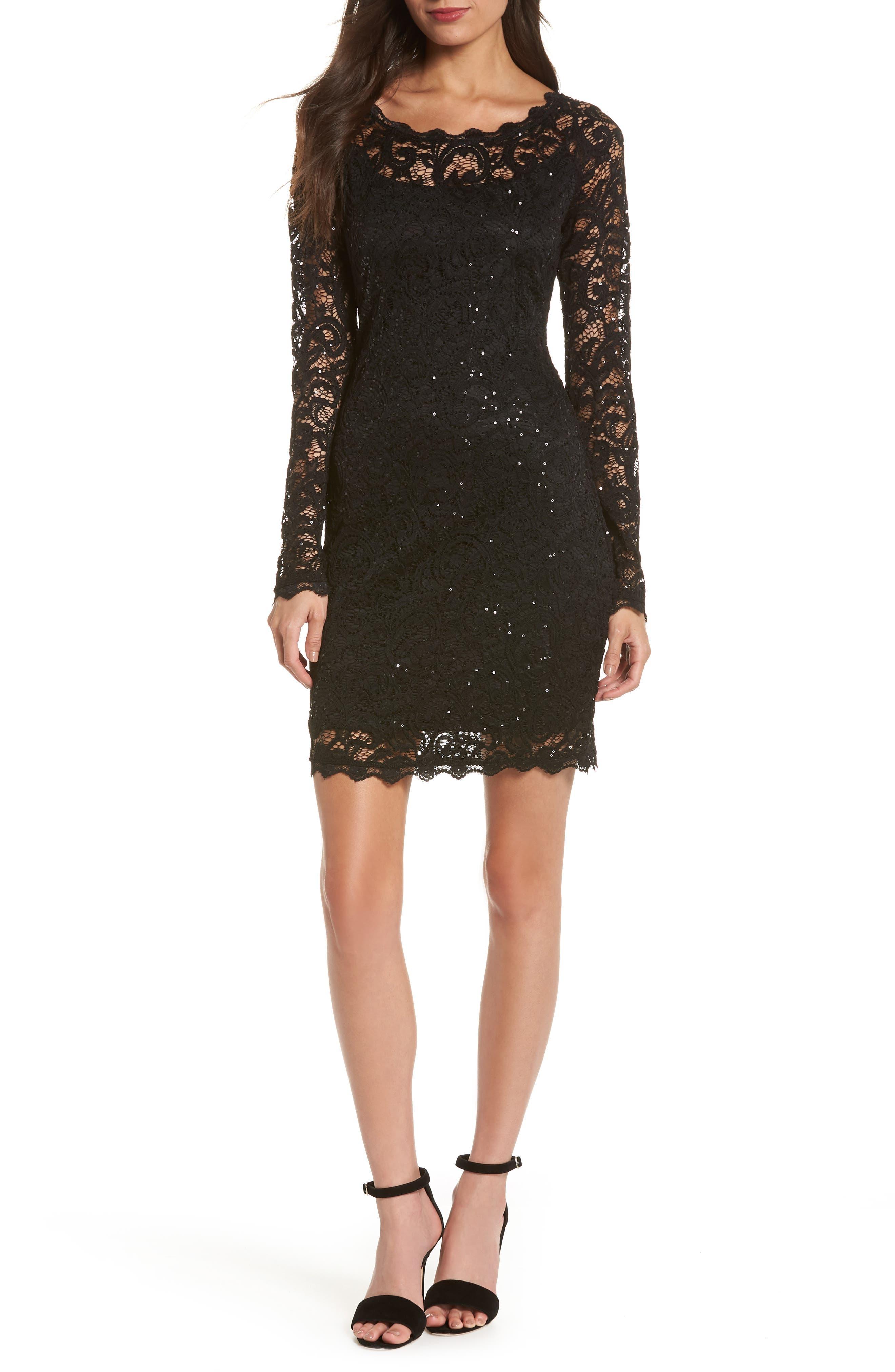 Sequin Lace Sheath Dress,                         Main,                         color, BLACK