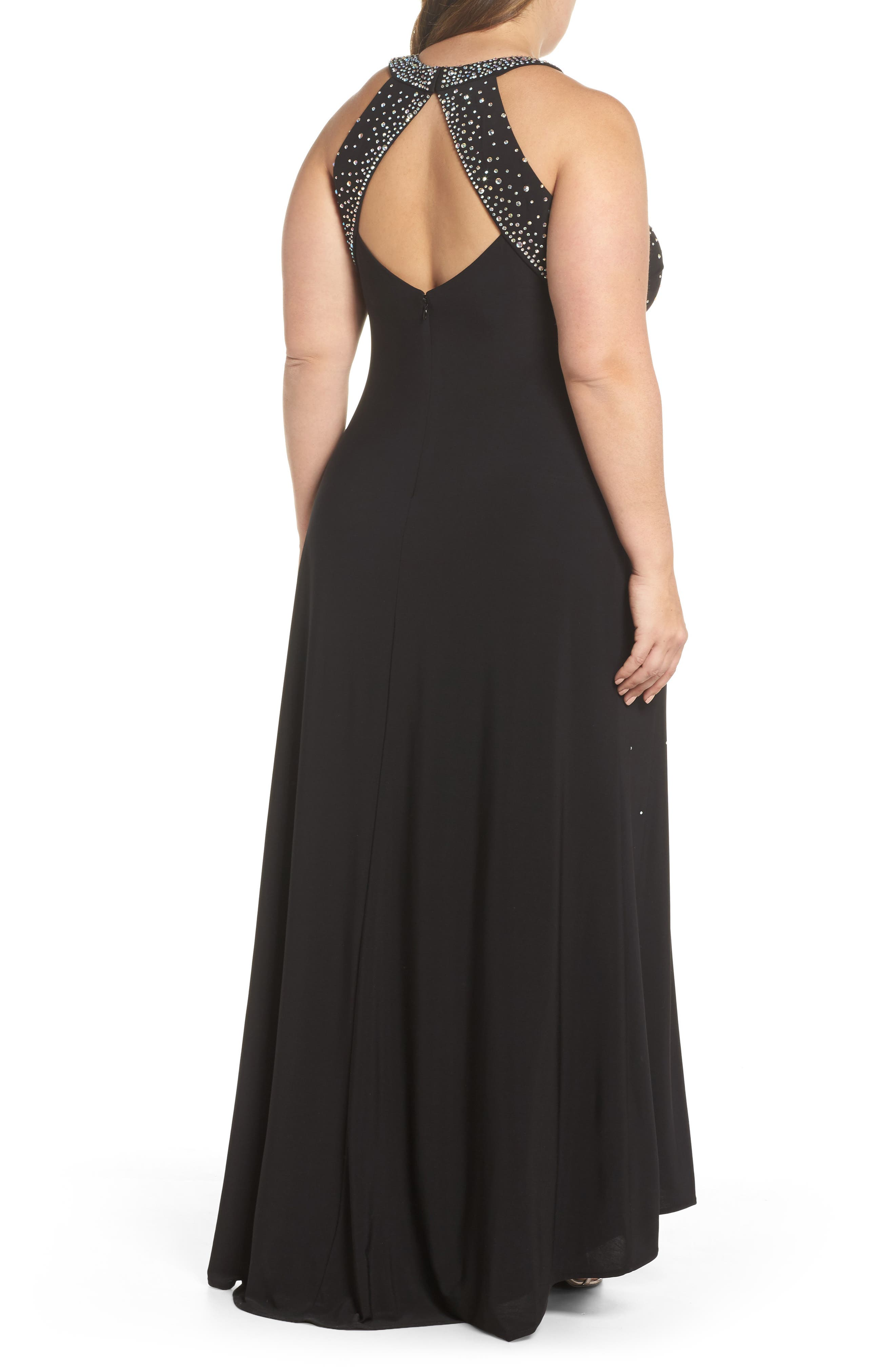 Heat Sealed Stone Knit Gown,                             Alternate thumbnail 2, color,                             BLACK