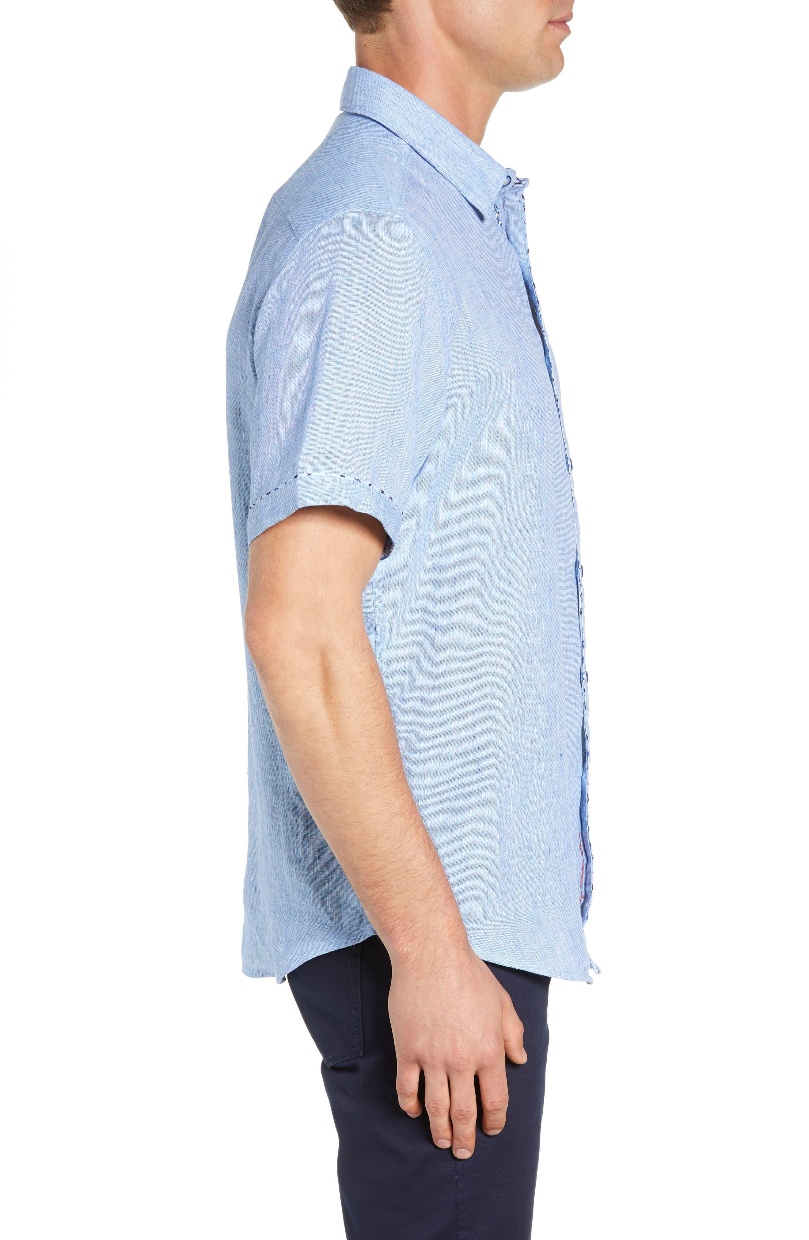 Gills Classic Fit Linen Sport Shirt,                             Alternate thumbnail 4, color,                             LIGHT BLUE