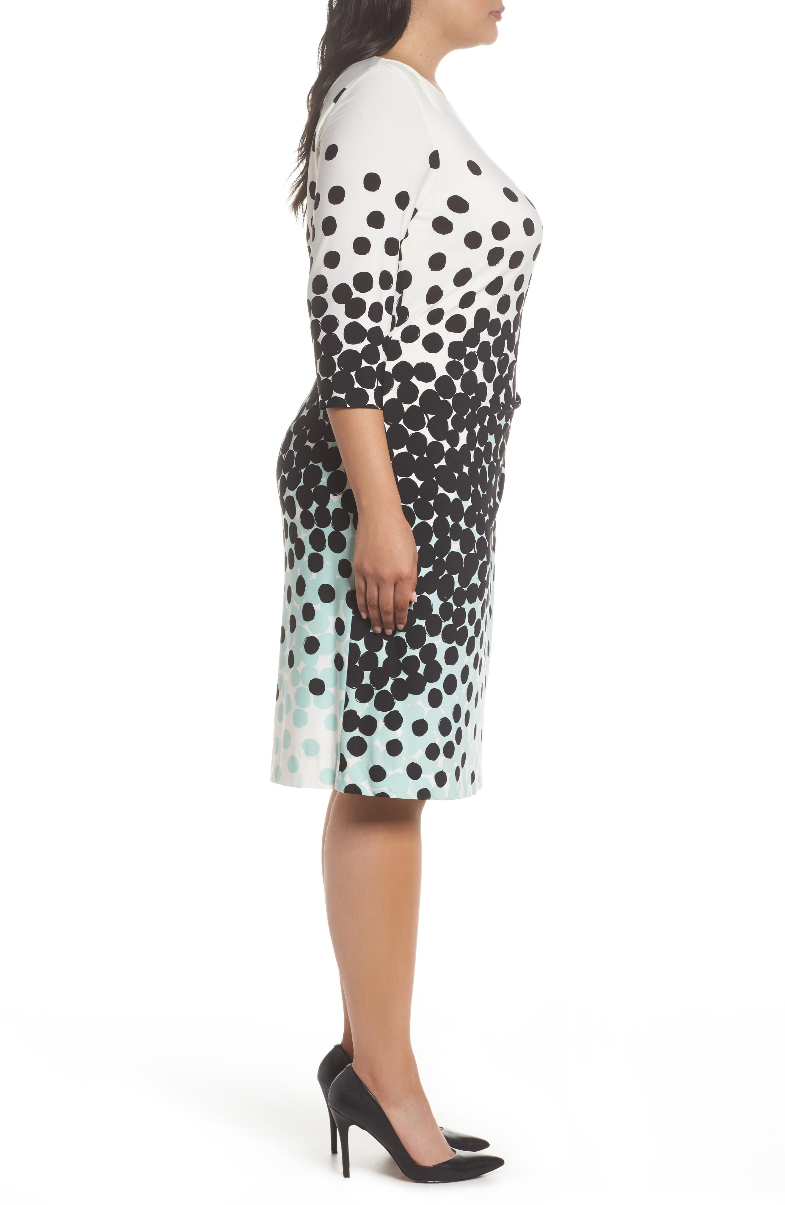 Dot Print Sheath Dress,                             Alternate thumbnail 3, color,                             001