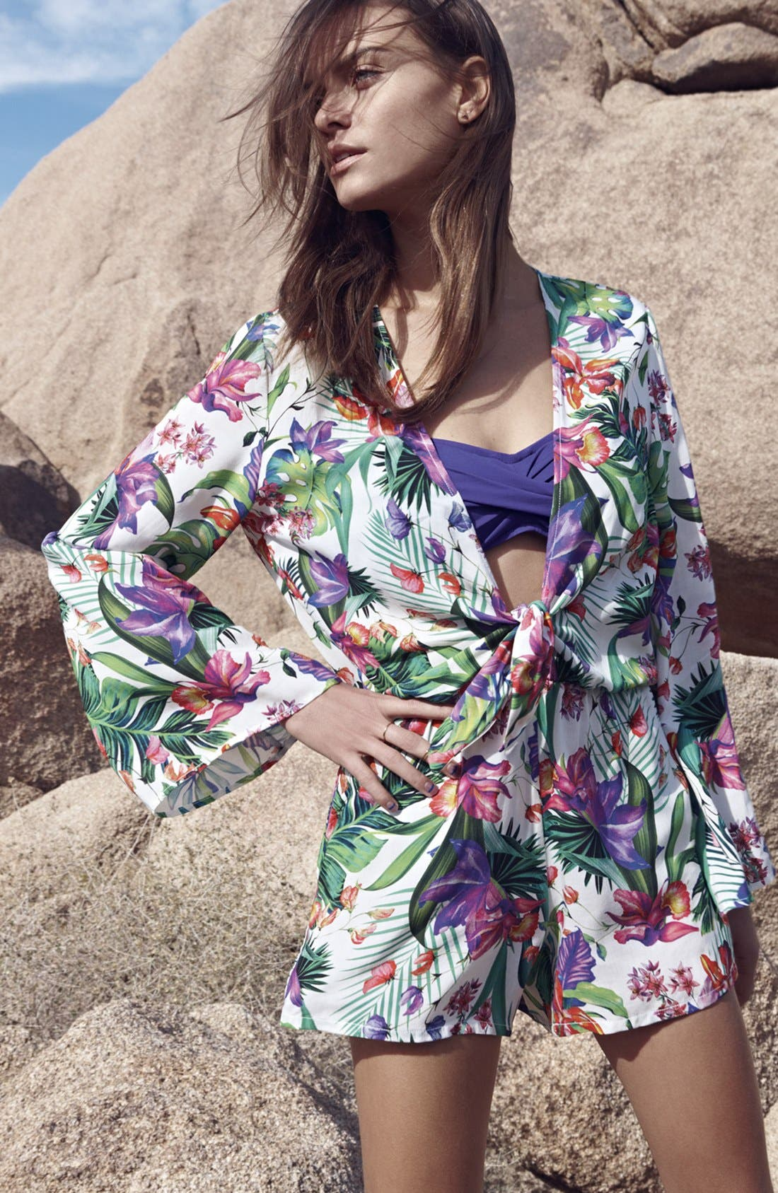 'Calypso Island' Print Cover-Up Romper,                             Alternate thumbnail 6, color,                             100