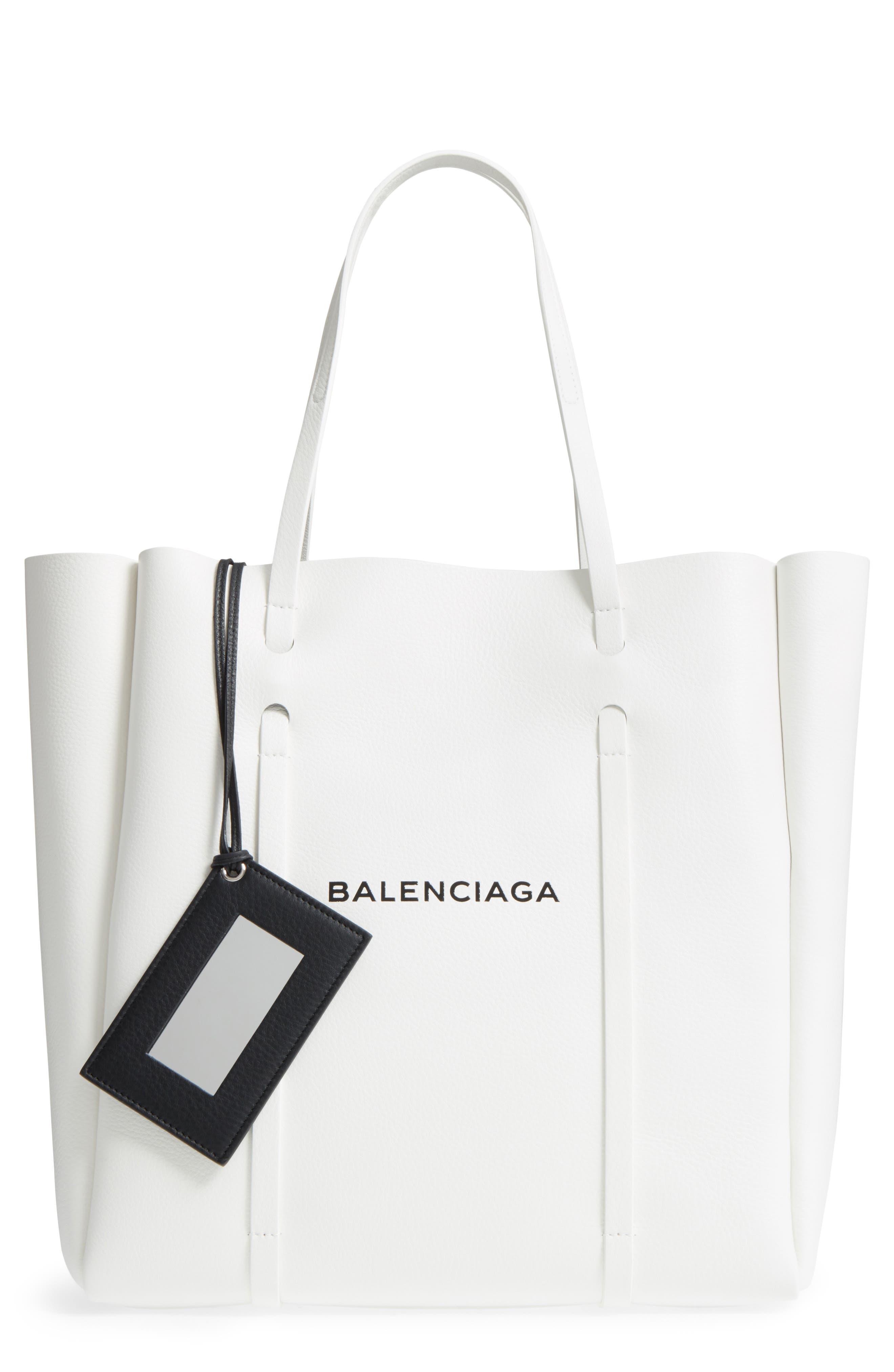 Medium Everyday Logo Leather Tote,                         Main,                         color, WHITE/ BLACK