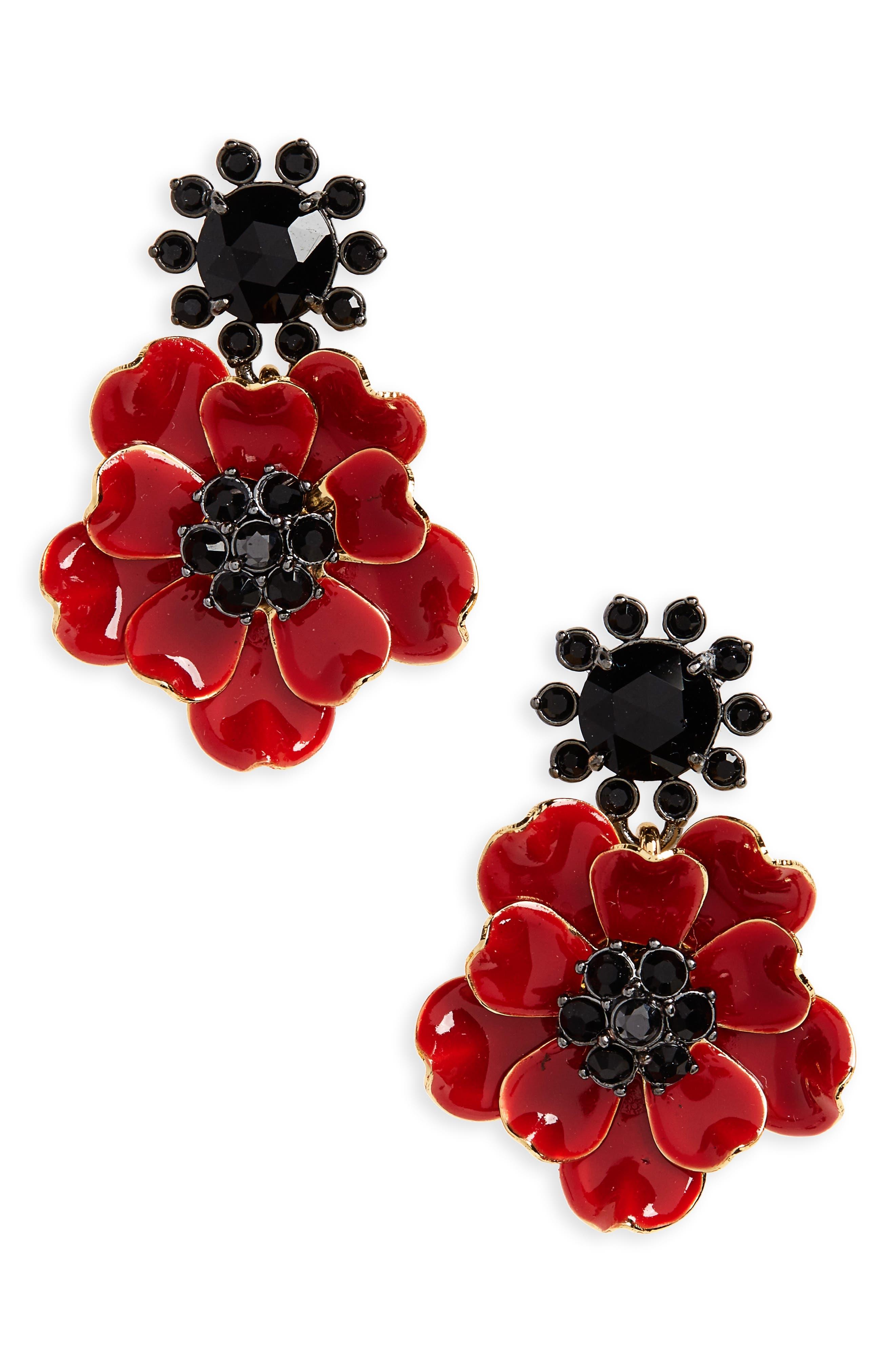 precious poppies drop earrings,                             Main thumbnail 1, color,                             616