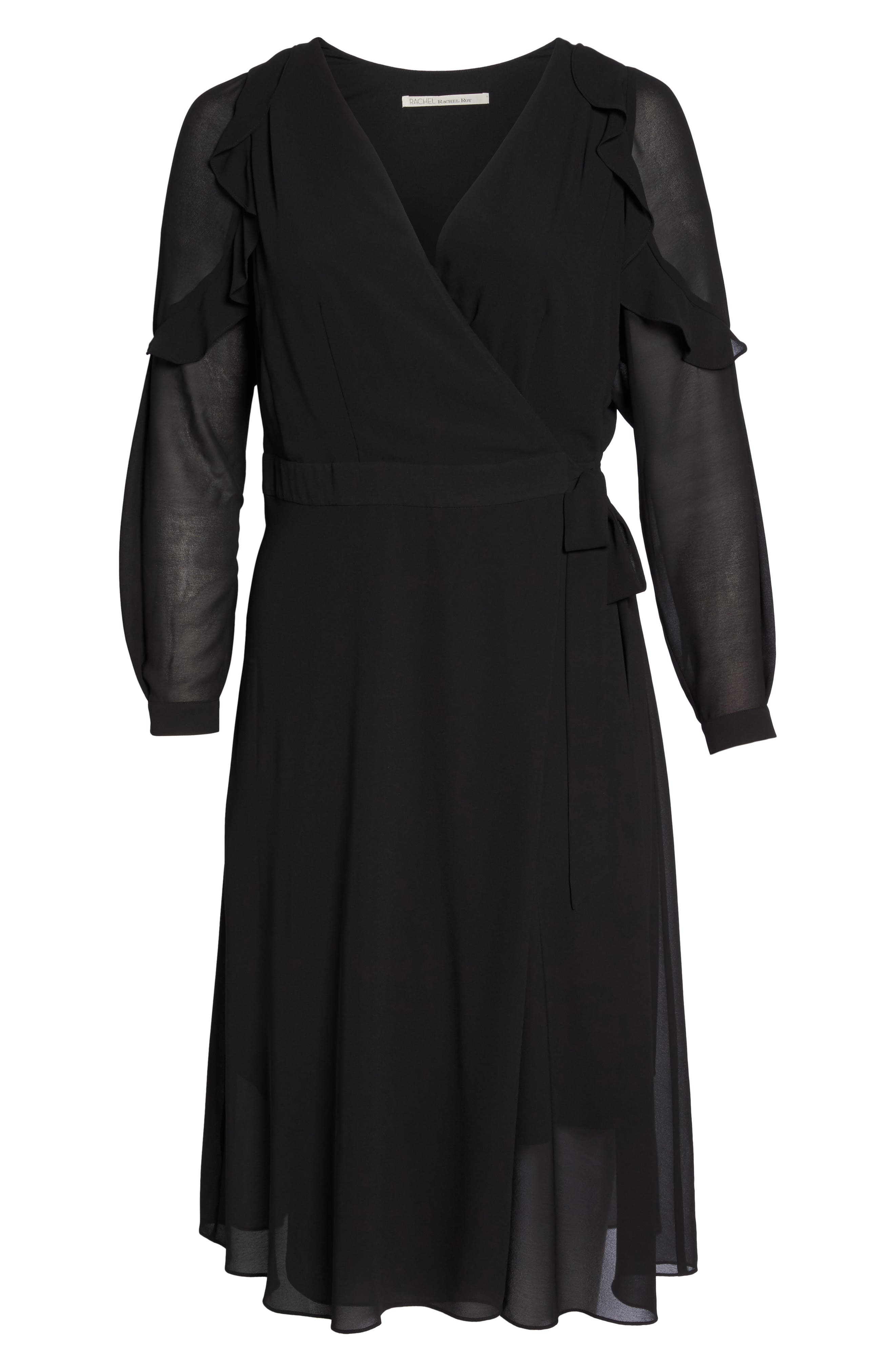 Smocked Wrap Dress,                             Alternate thumbnail 6, color,                             001