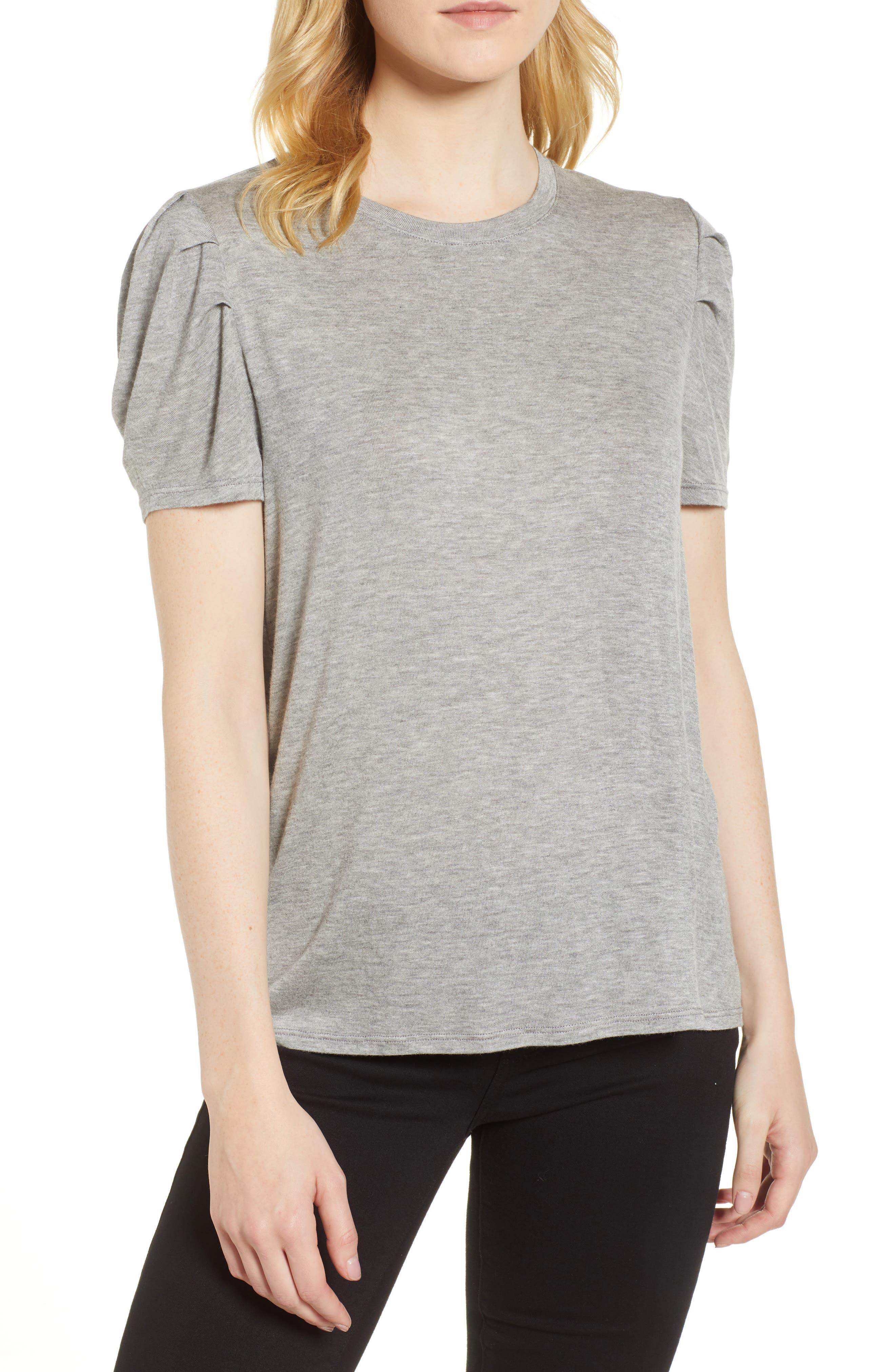 Shoulder Pleat Tee,                         Main,                         color,