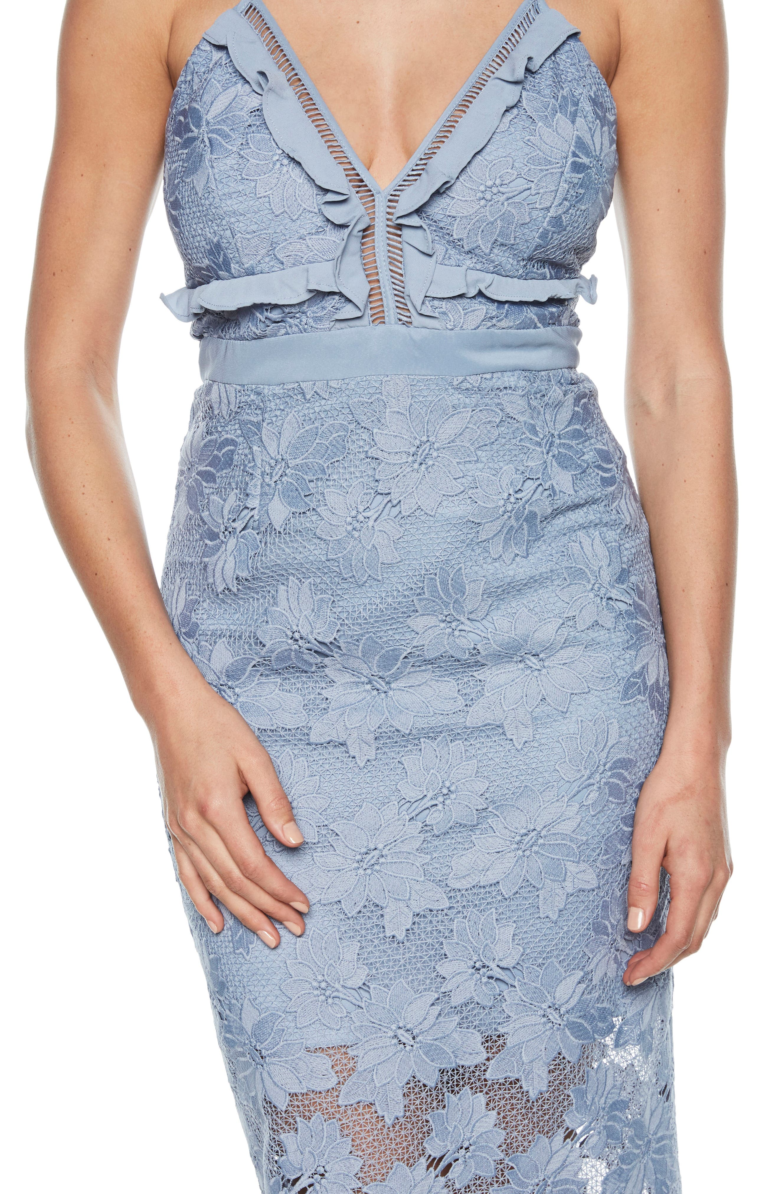 Vienna Lace Overlay Dress,                             Alternate thumbnail 4, color,                             DUSTY BLUE