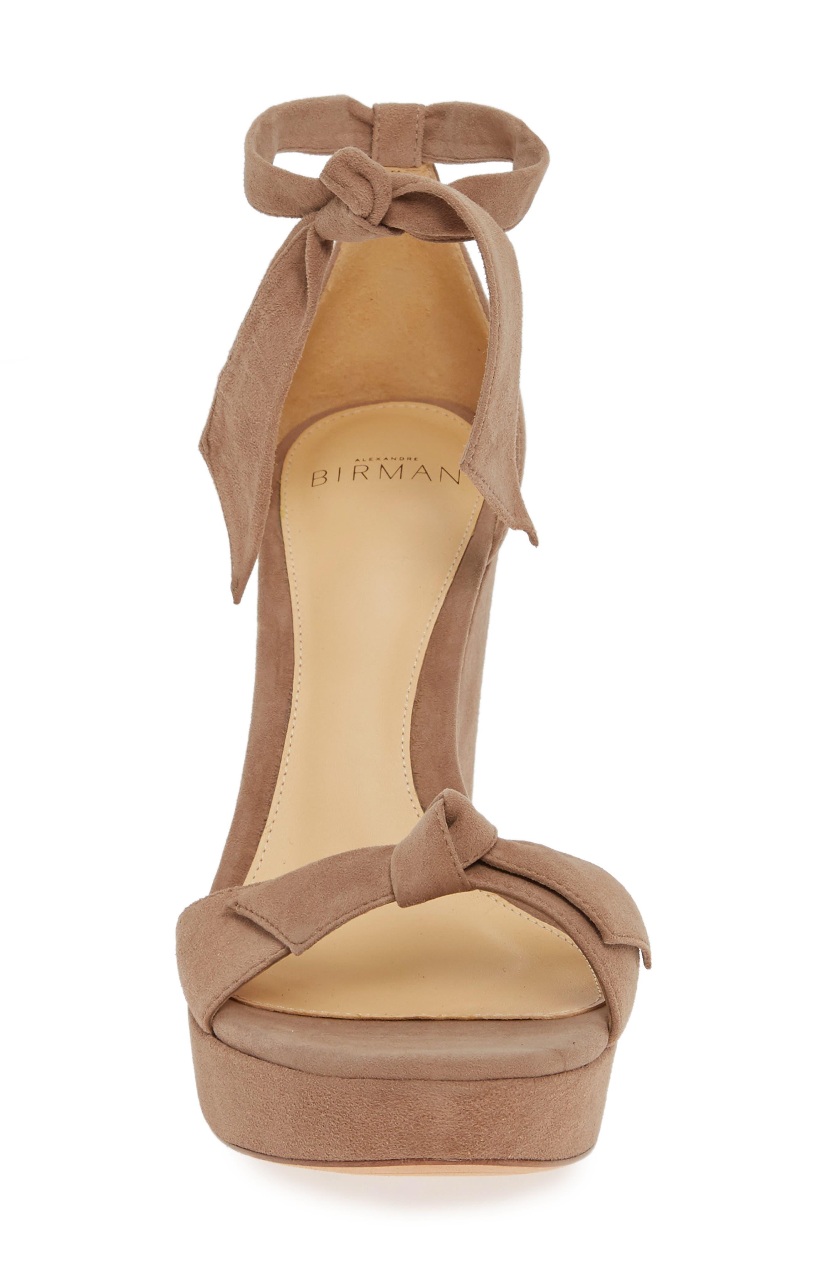 Clarita Platform Wedge Sandal,                             Alternate thumbnail 4, color,                             CAMEO SUEDE