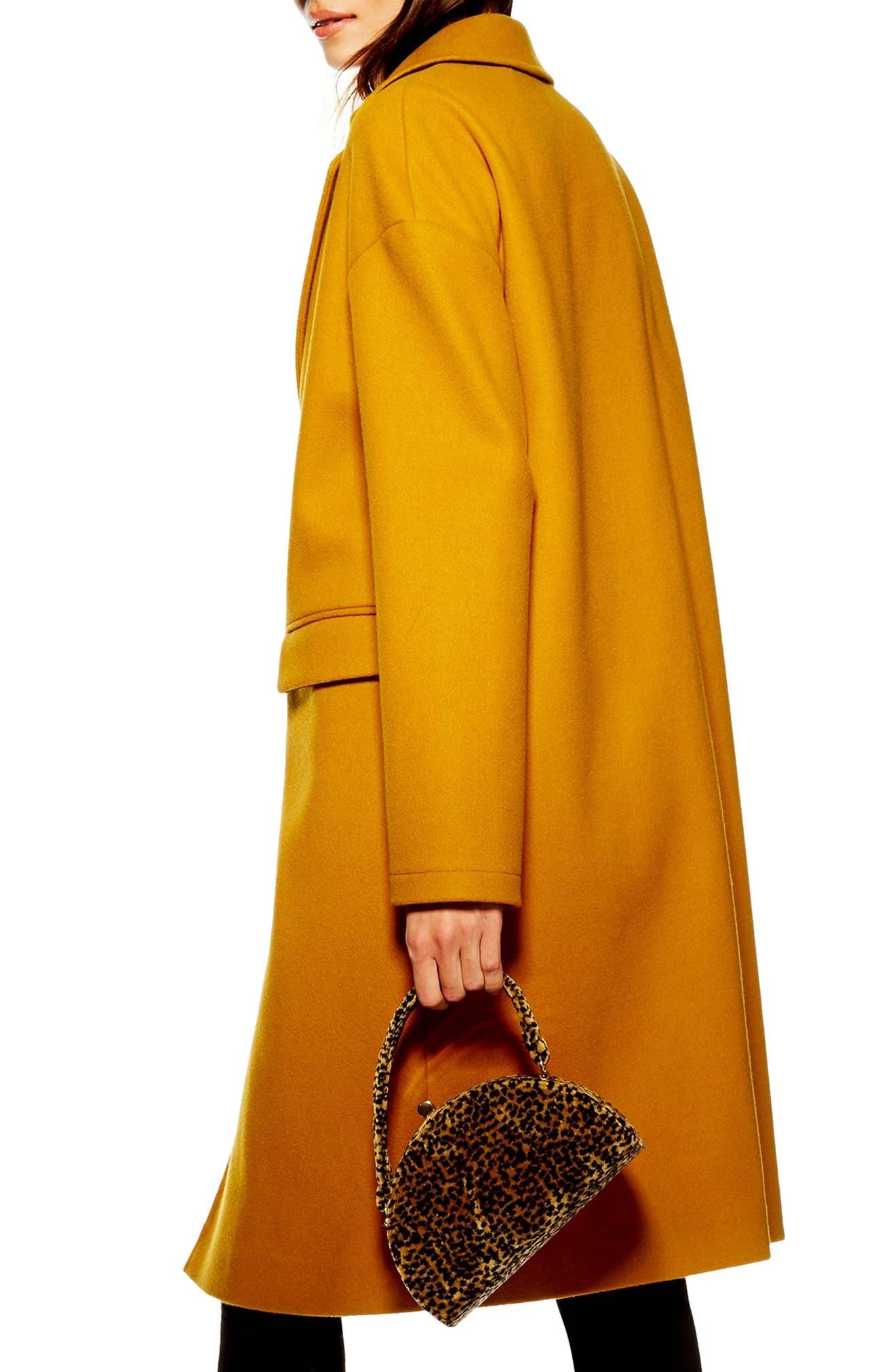 Lily Knit Back Midi Coat,                             Alternate thumbnail 2, color,                             MUSTARD