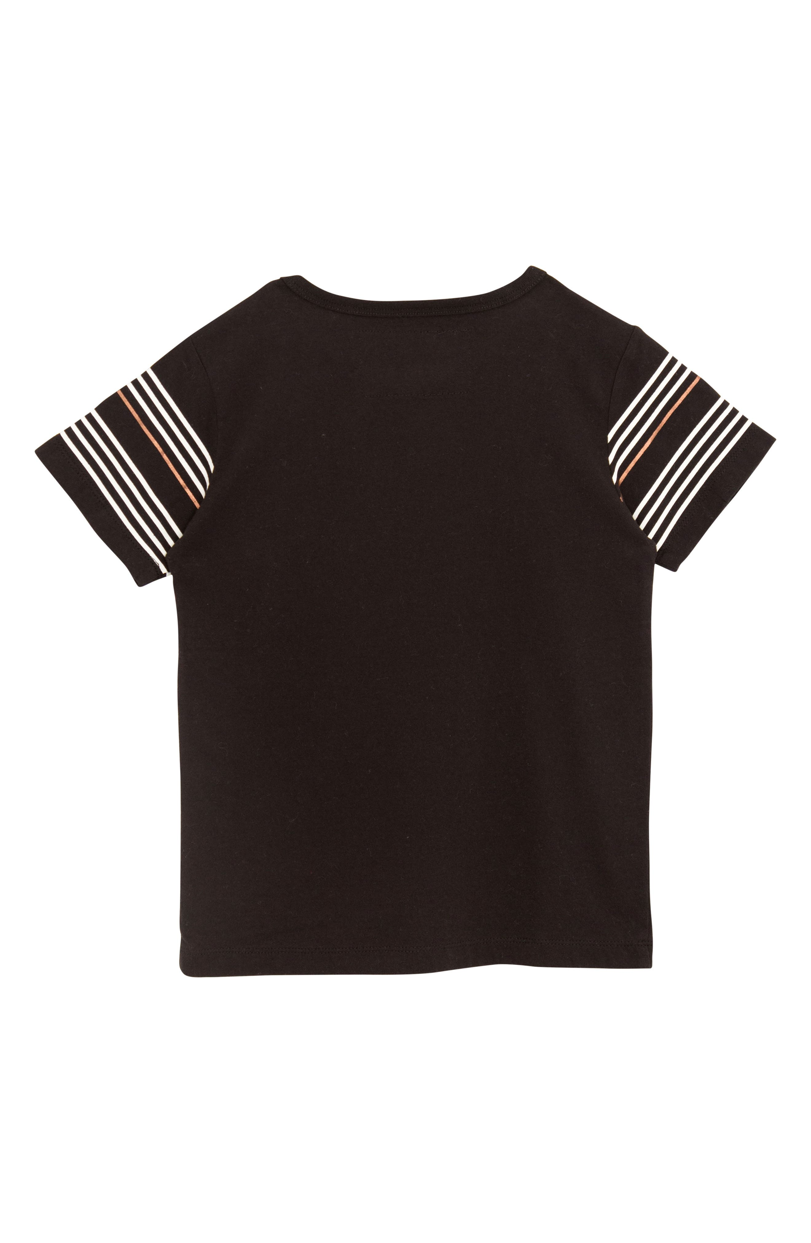 Pop Stripe T-Shirt,                             Alternate thumbnail 2, color,                             BLACK