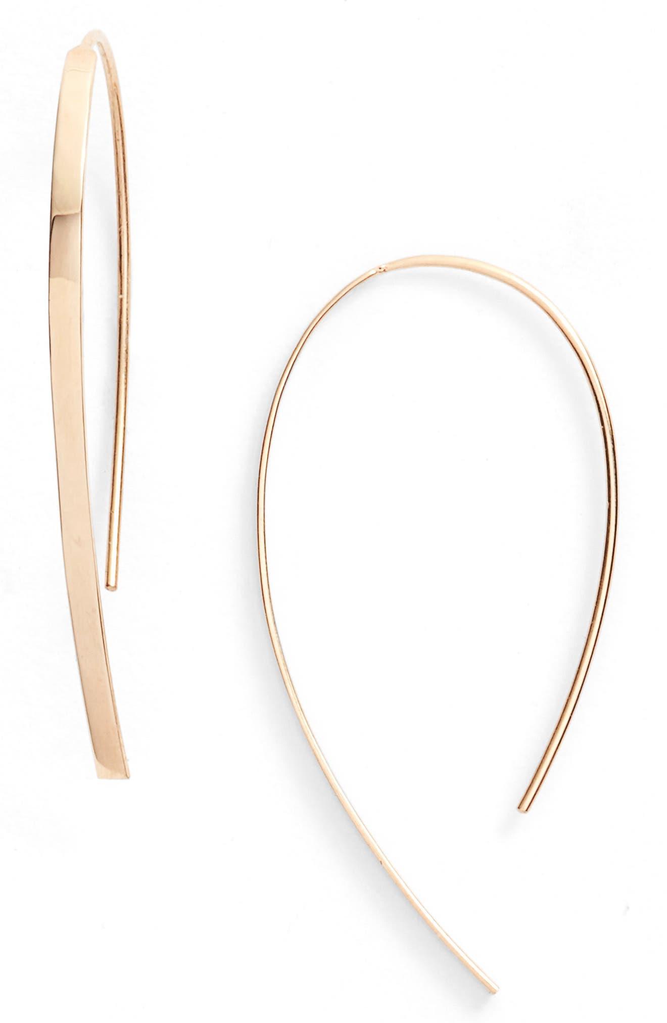 Mini Flat Hooked On Hoop Earrings,                             Main thumbnail 1, color,                             YELLOW GOLD
