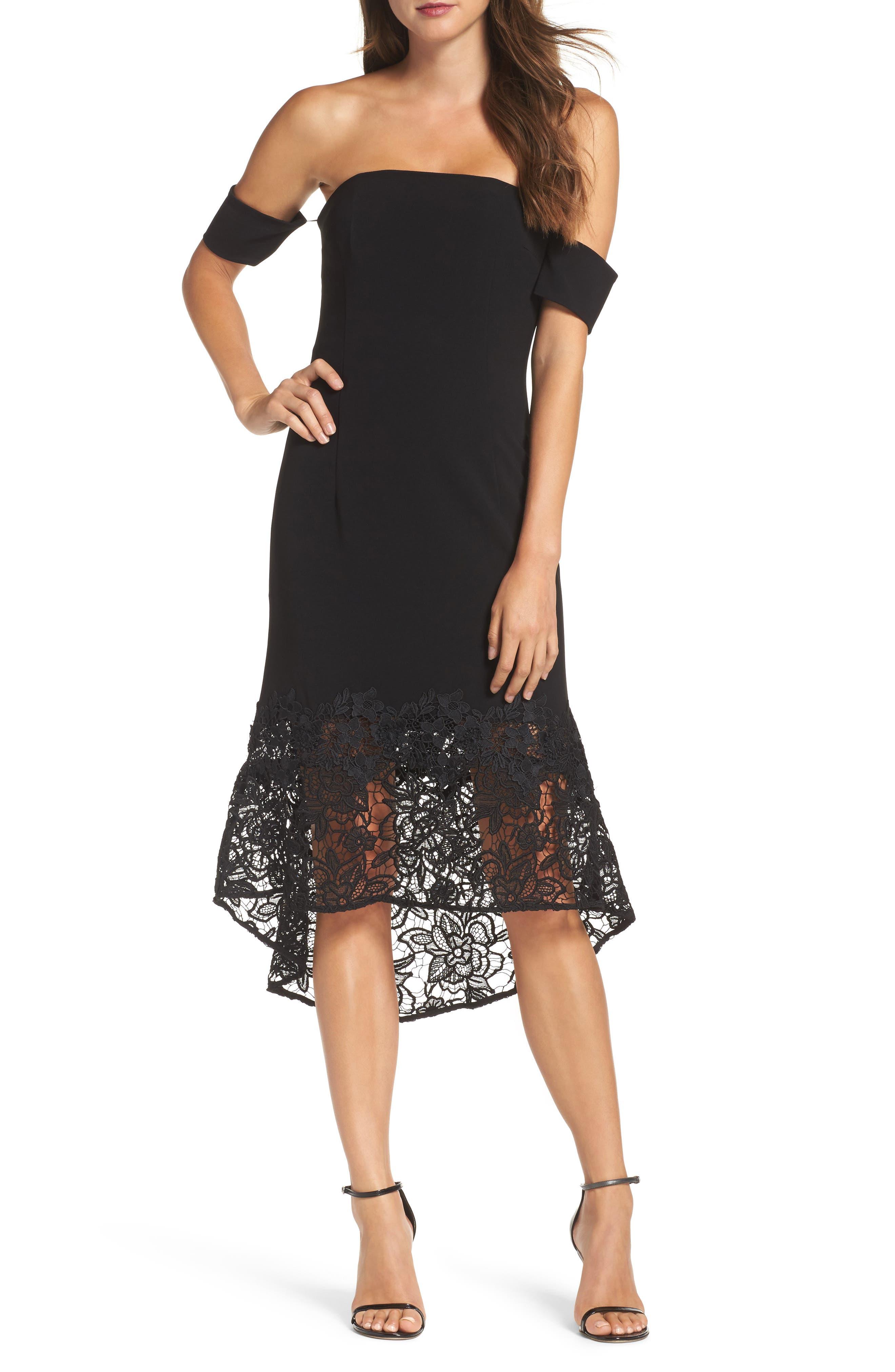 Noir Indure Lace Hem Off the Shoulder Dress,                             Main thumbnail 1, color,                             001