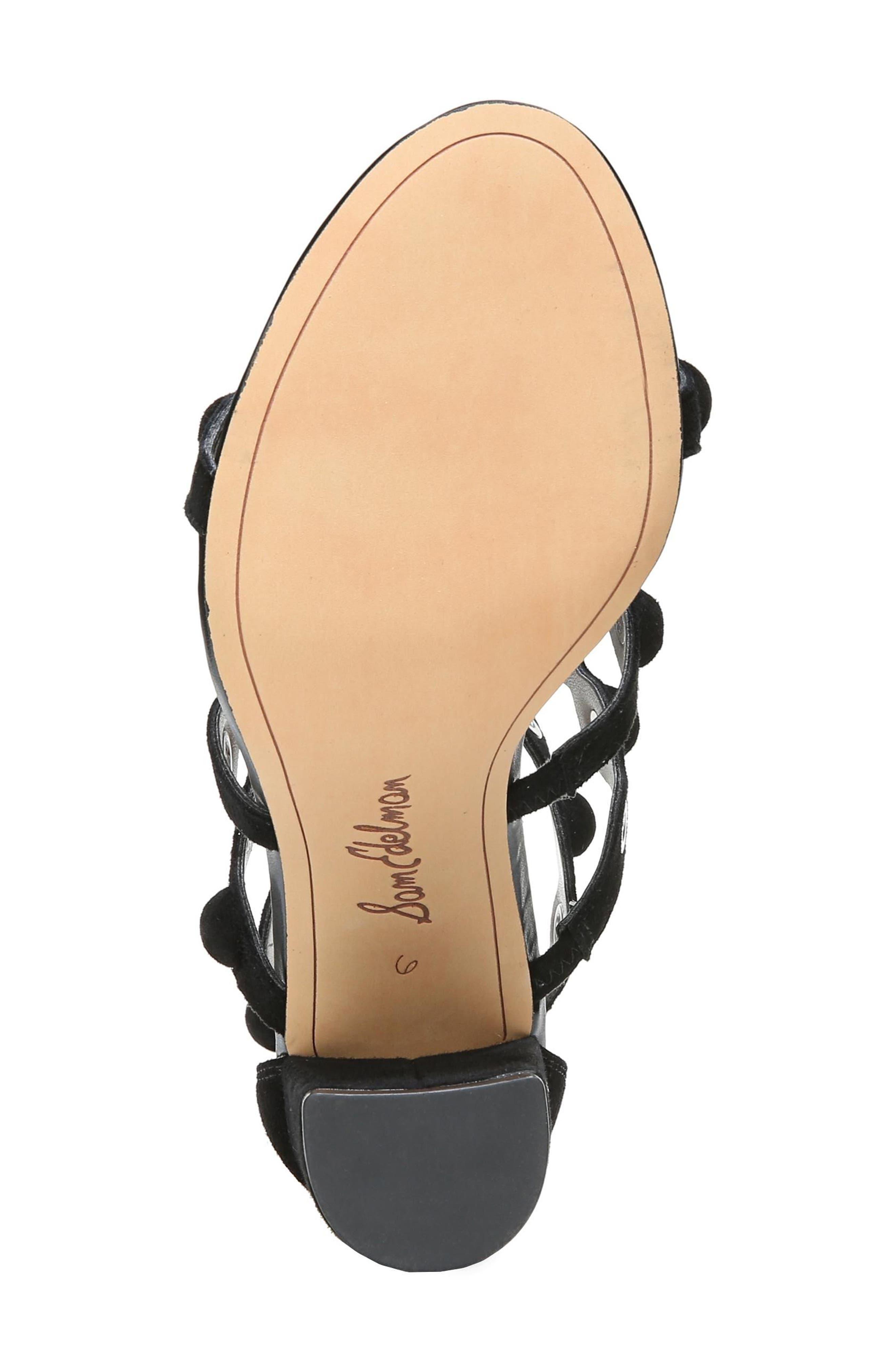 Yuli Grommet Sandal,                             Alternate thumbnail 6, color,                             BLACK LEATHER