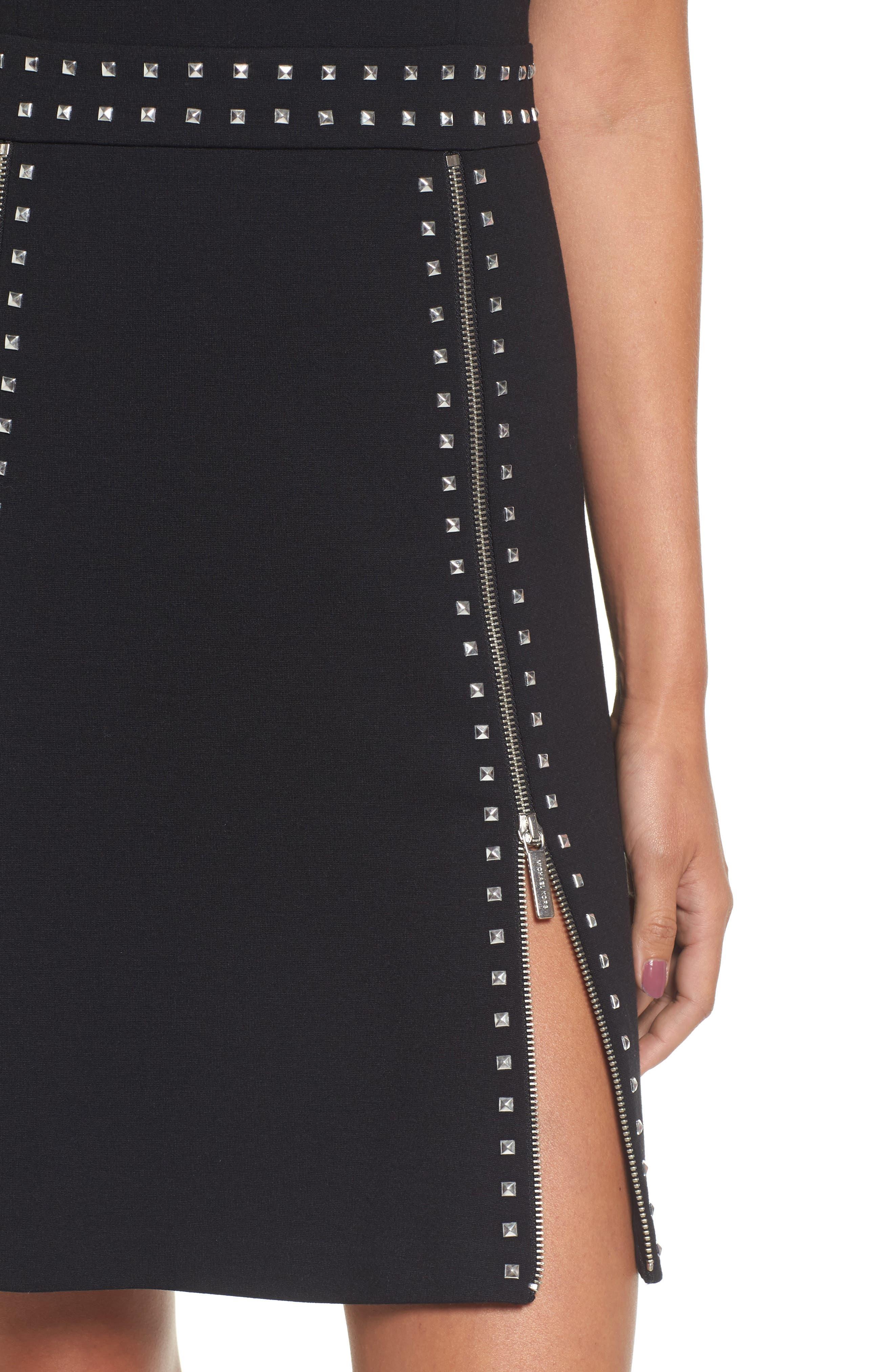 Pyramid Stud Zipper Detail Dress,                             Alternate thumbnail 4, color,                             001