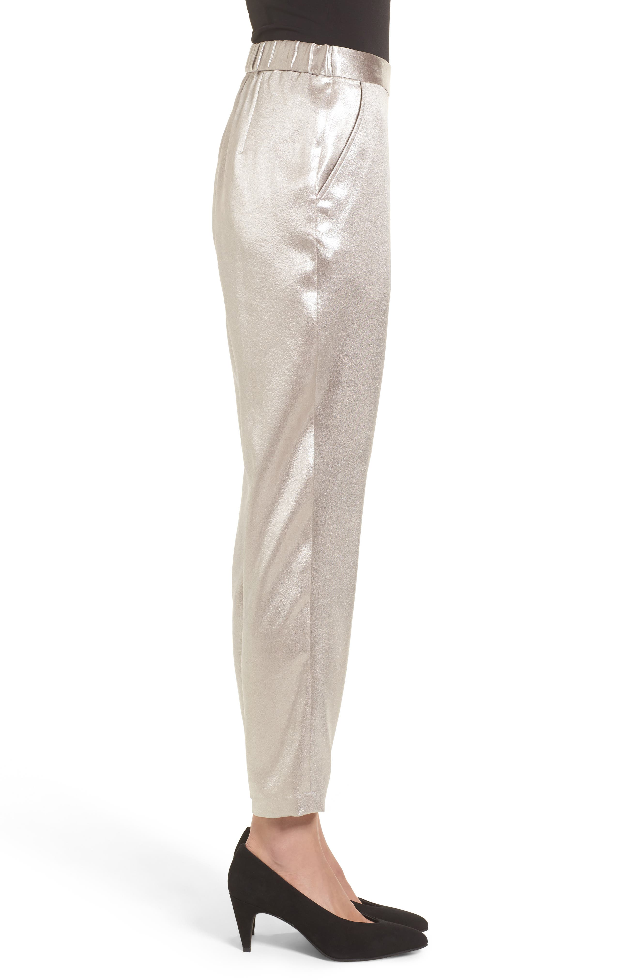 Satin High Waist Ankle Pants,                             Alternate thumbnail 3, color,
