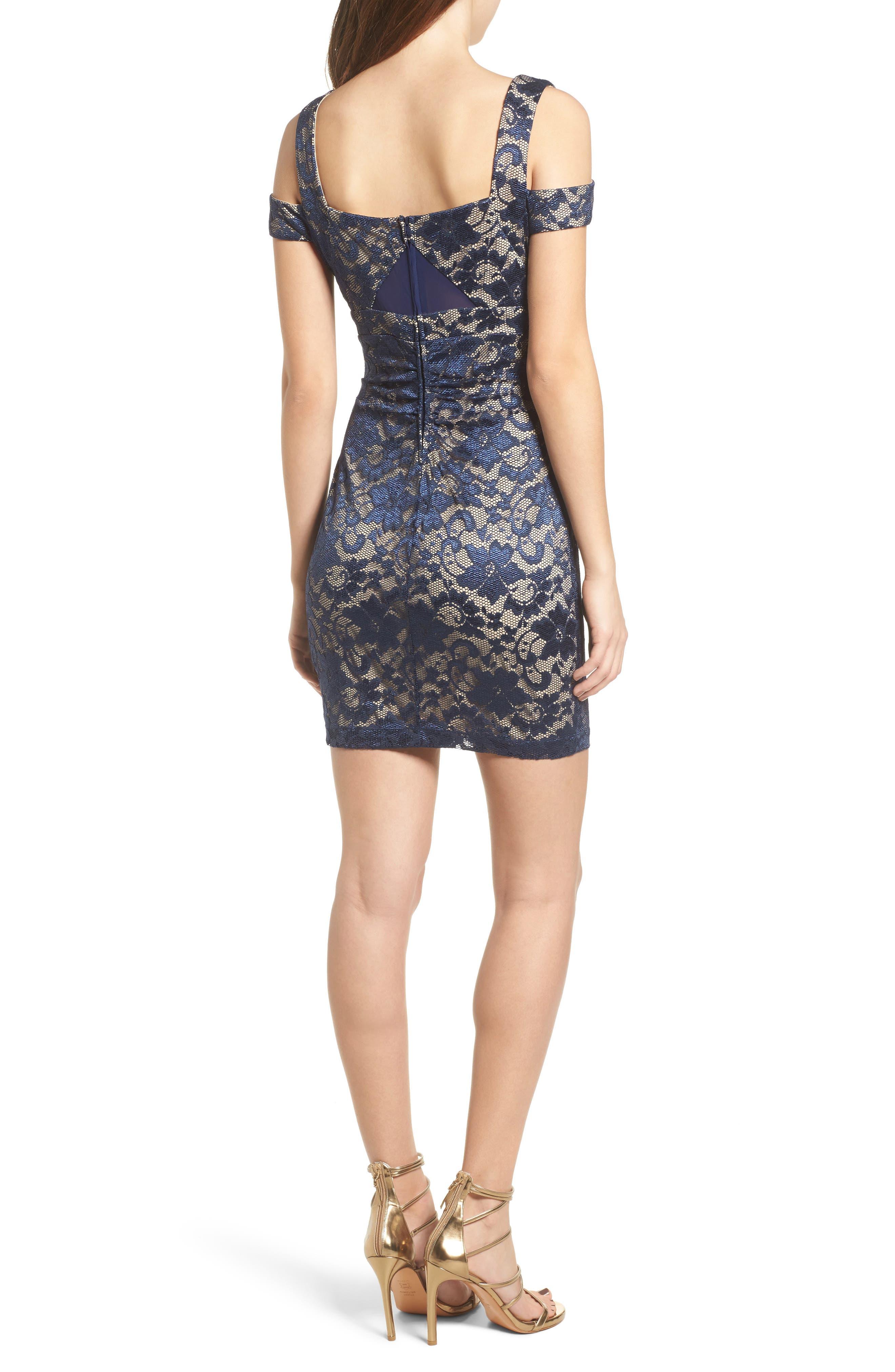 Lace Cold Shoulder Body-Con Dress,                             Alternate thumbnail 2, color,                             400