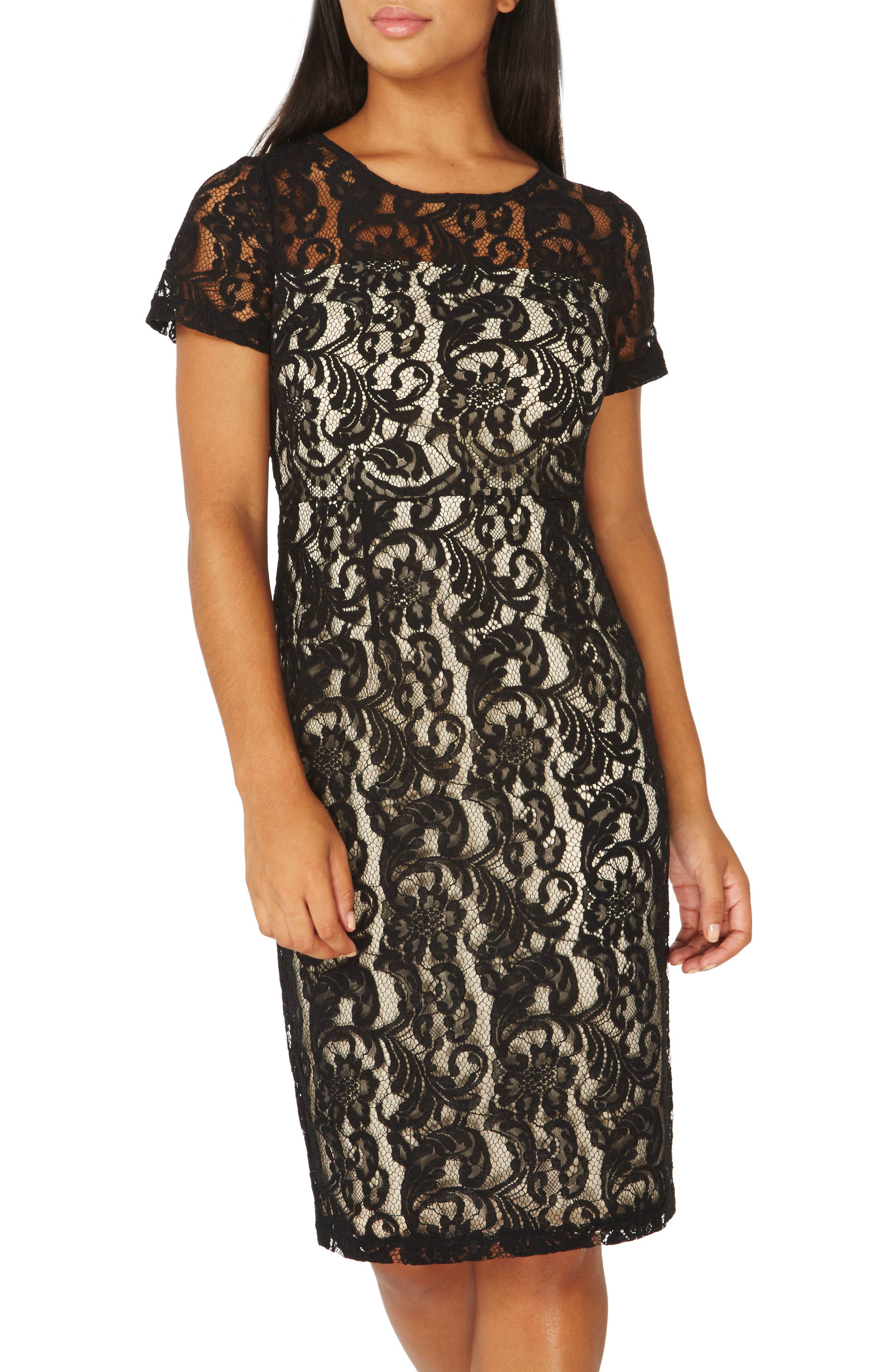 Lace Pencil Dress,                             Alternate thumbnail 3, color,                             001