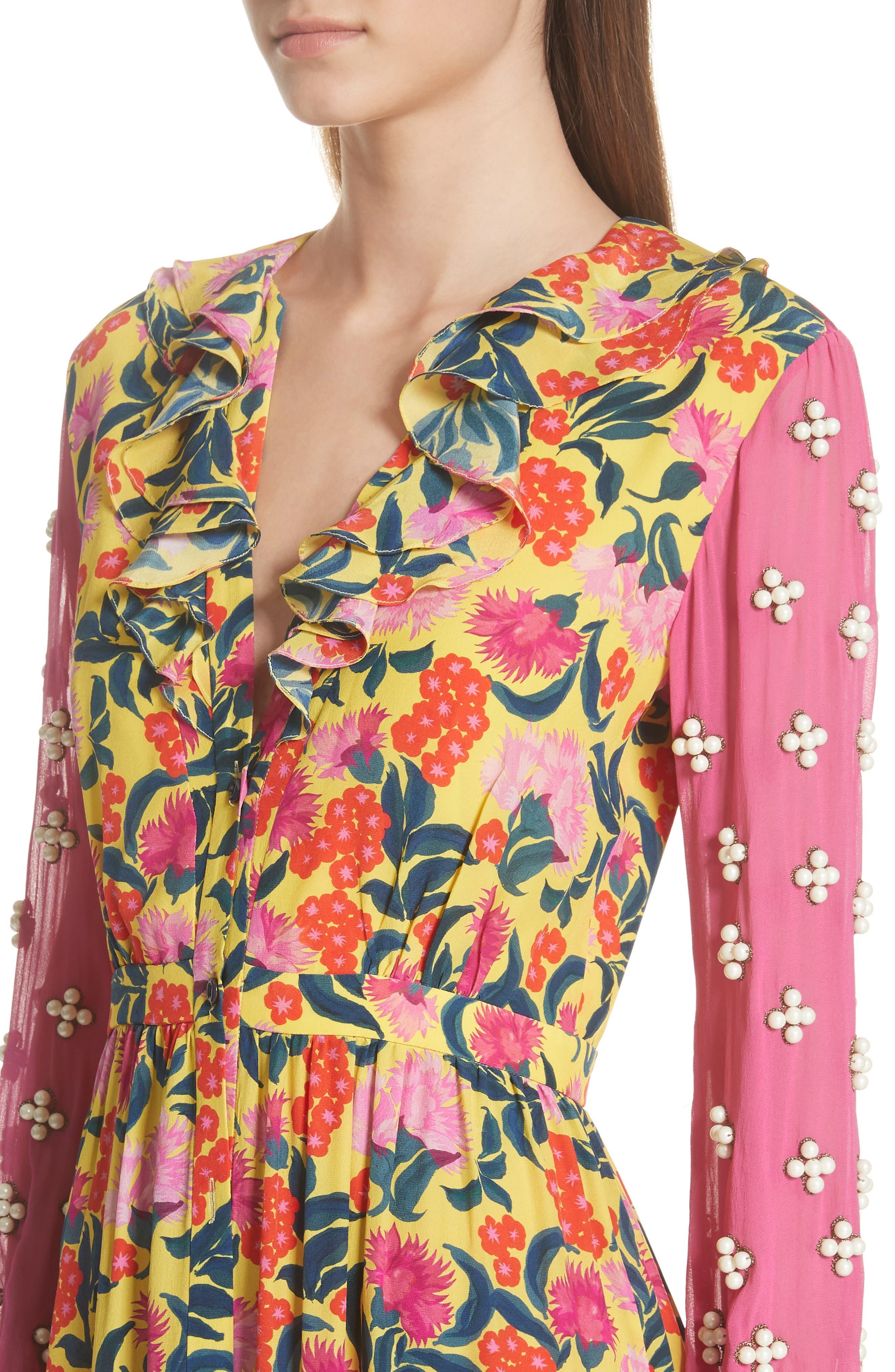 SALONI,                             Ginny Floral Print Embellished Sleeve Silk Dress,                             Alternate thumbnail 4, color,                             720