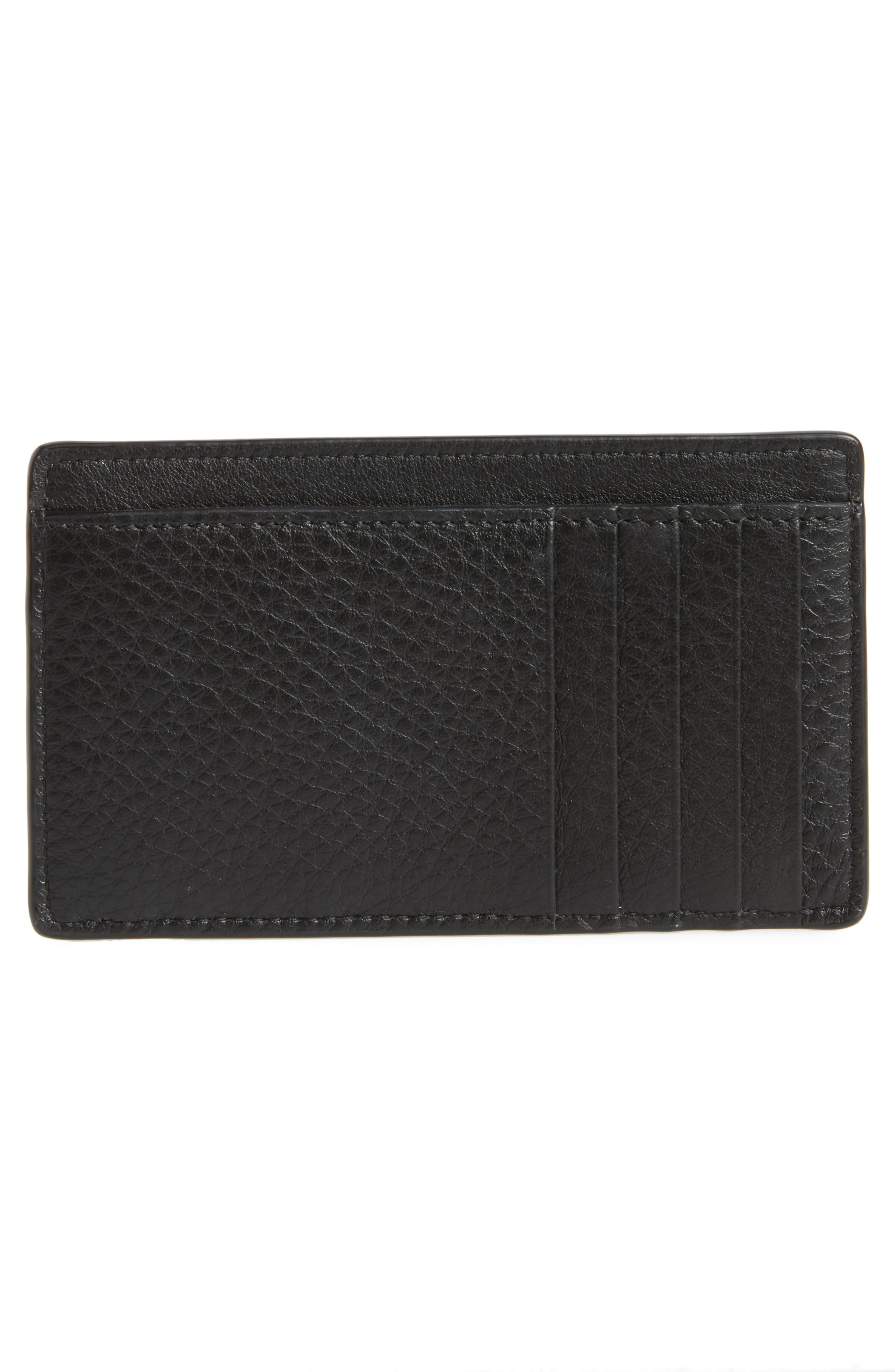 Everyday Leather Card Case,                             Alternate thumbnail 2, color,                             NOIR/ BLANC