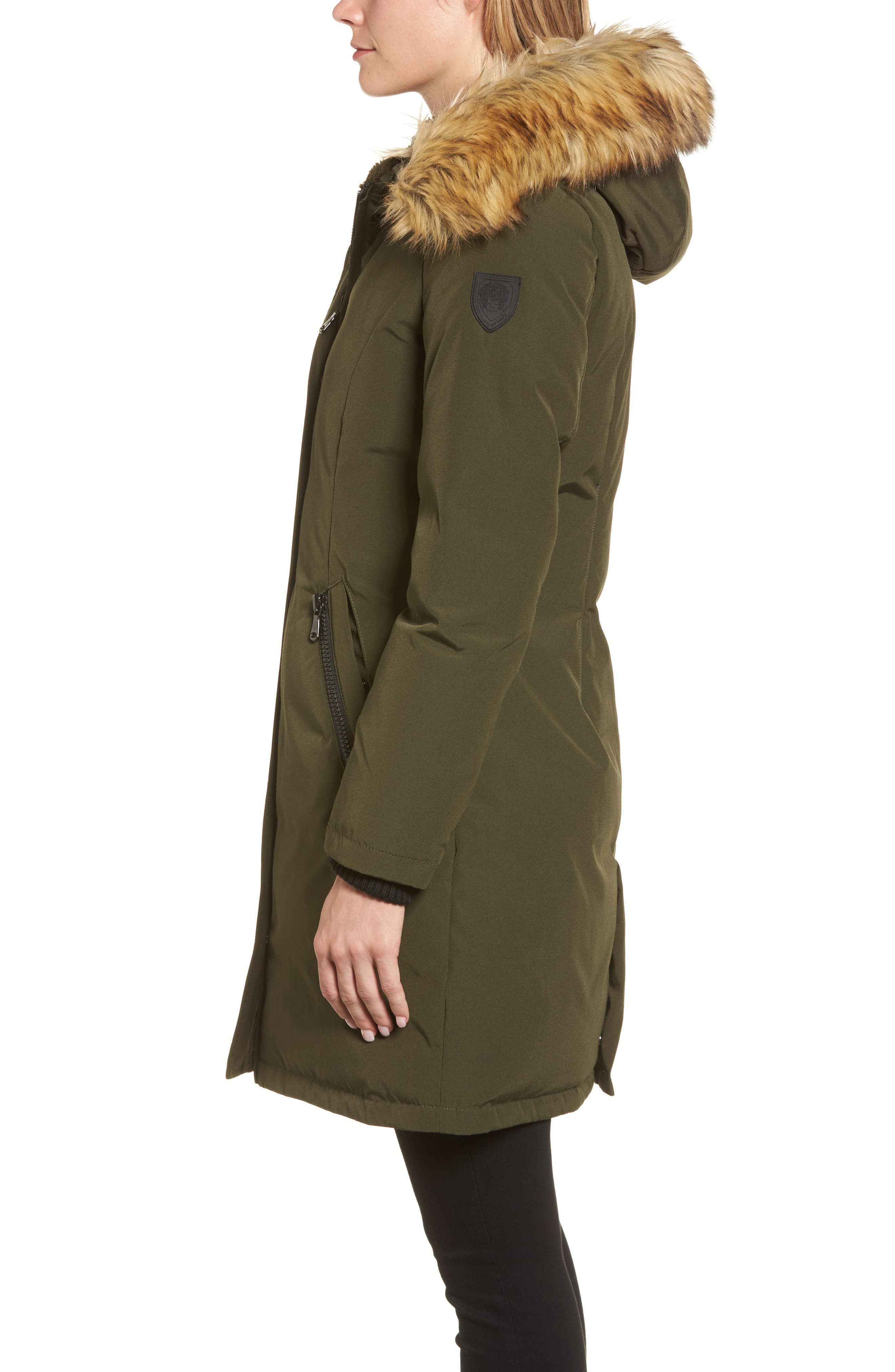Down & Feather Fill Parka with Faux Fur Trim,                             Alternate thumbnail 14, color,