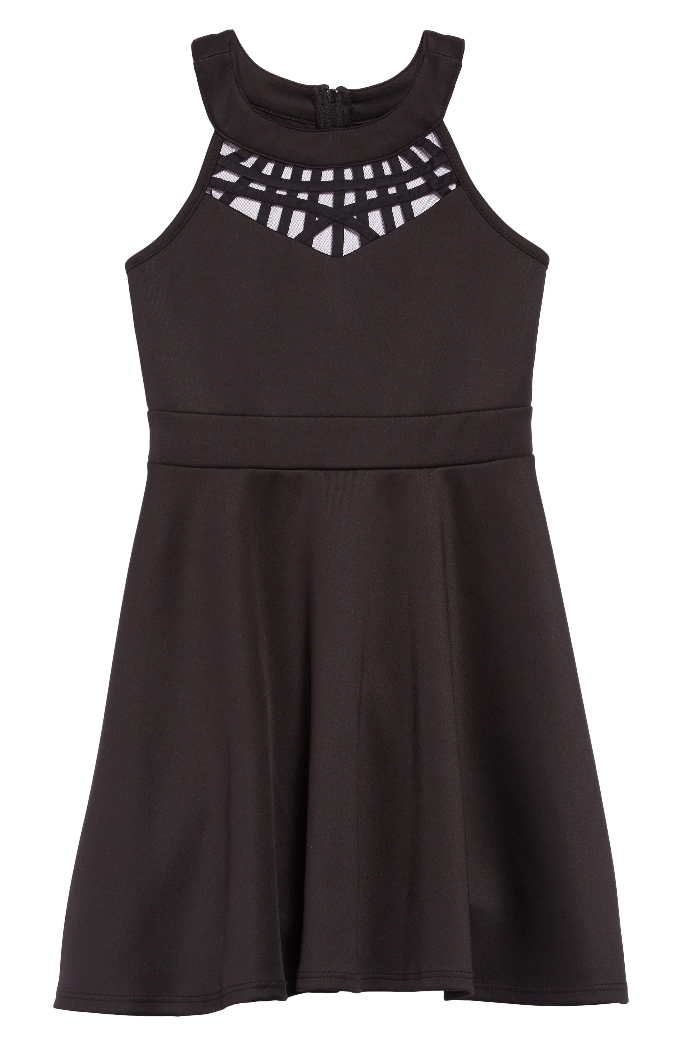 Scuba Dress with Detail,                         Main,                         color, 001