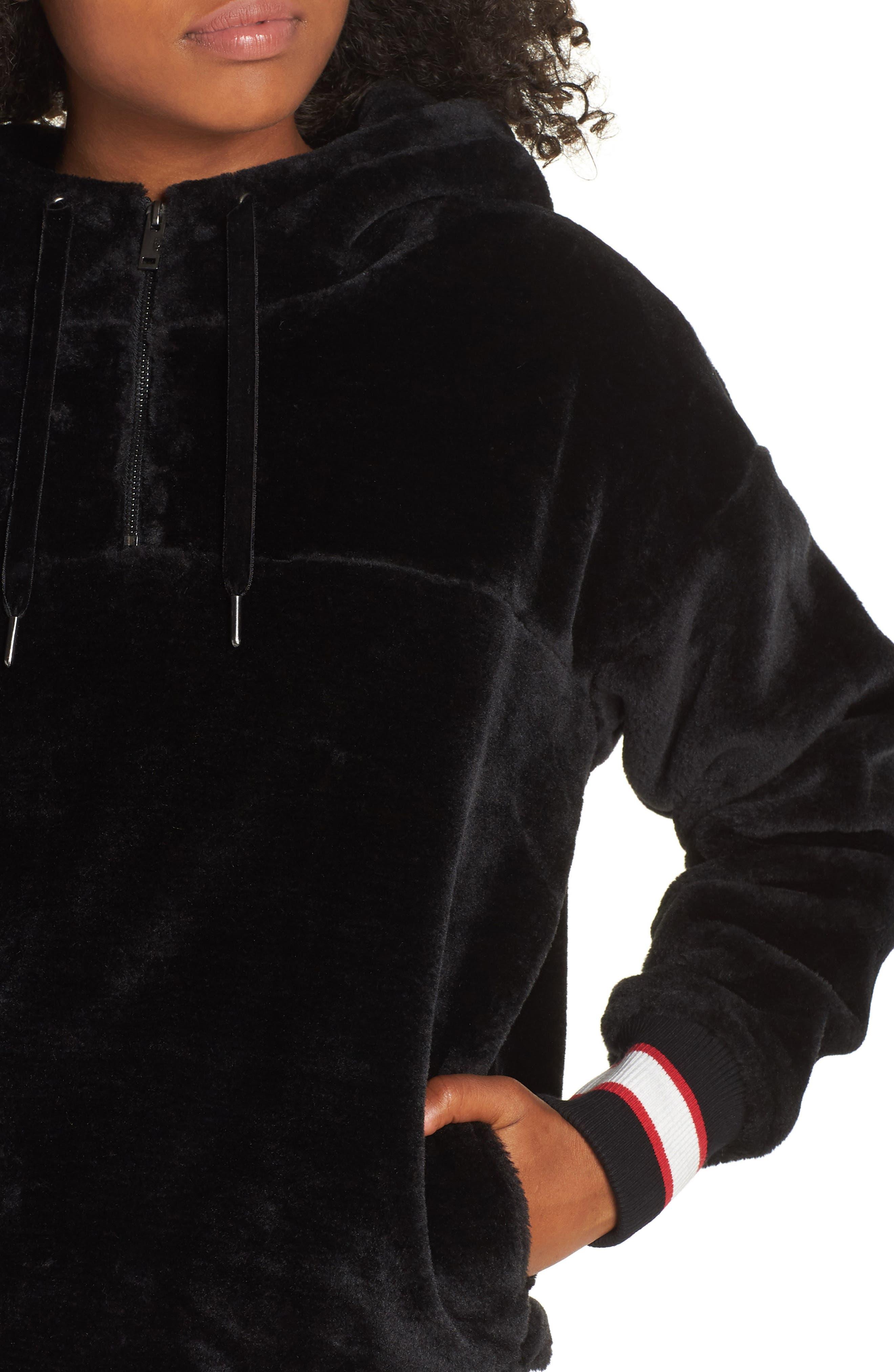 Kailani High Pile Fleece Hoodie,                             Alternate thumbnail 4, color,                             BLACK
