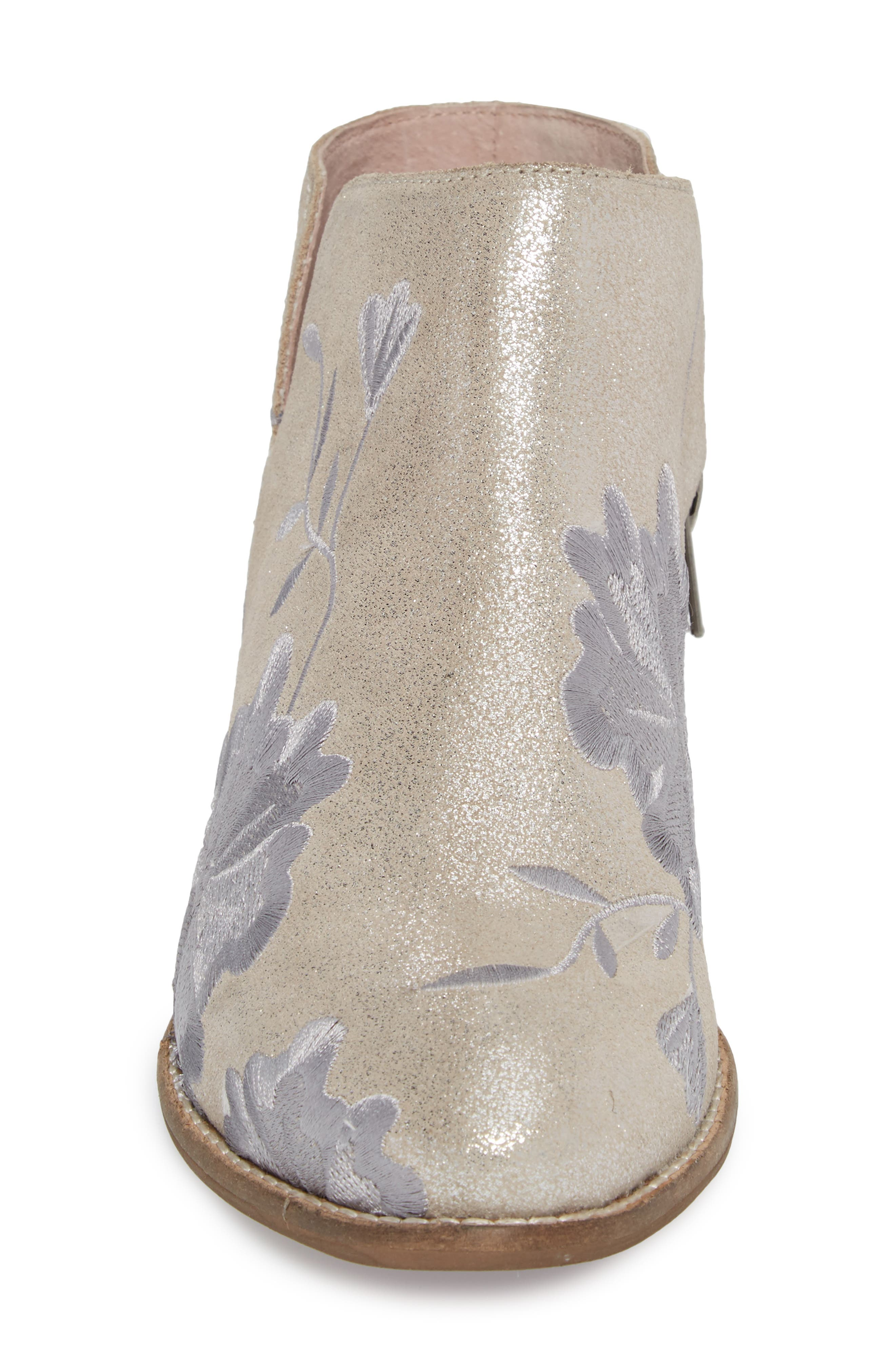 Lantern Embroidered Short Bootie,                             Alternate thumbnail 4, color,                             SILVER SUEDE