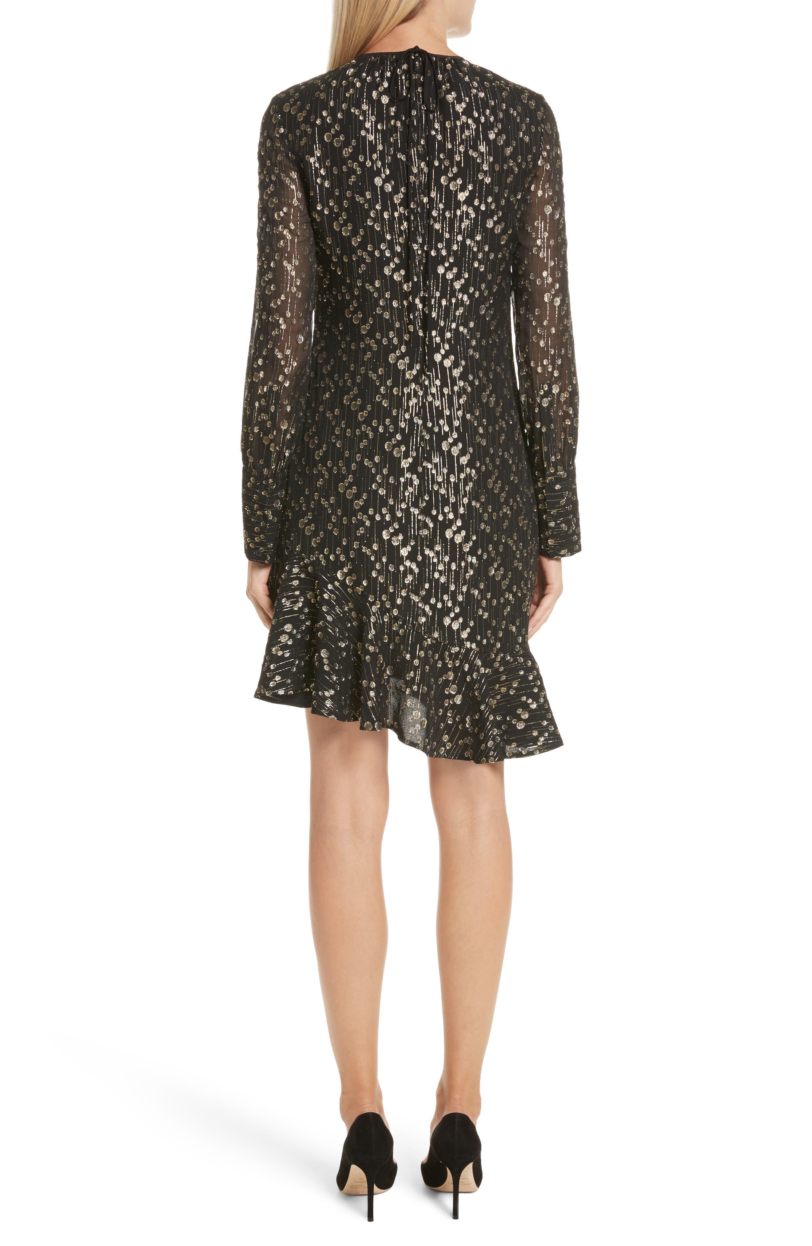 Metallic Dot Asymmetrical Ruffle Dress,                             Alternate thumbnail 2, color,                             001