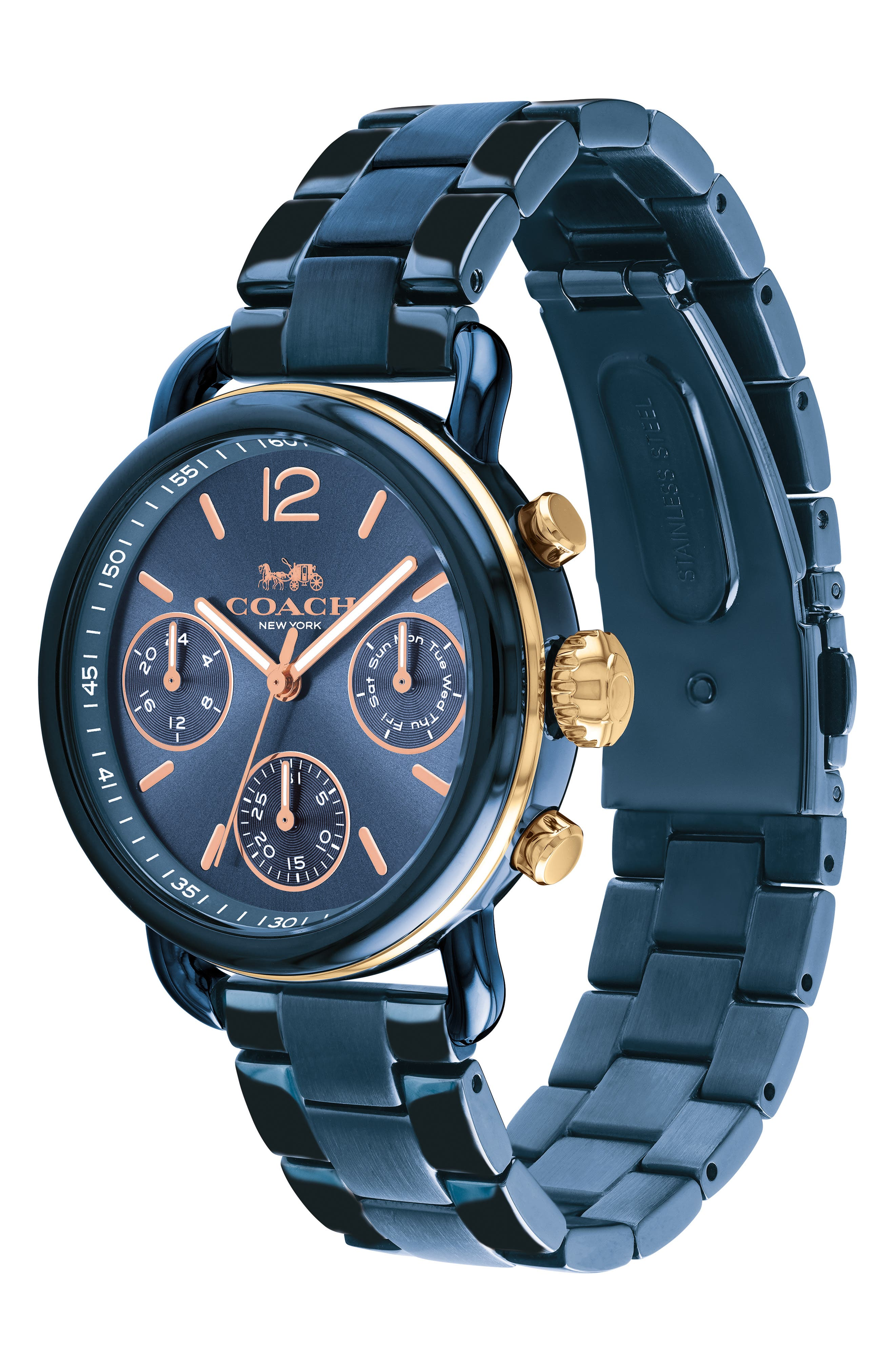 Delancey Sport Chronograph Bracelet Watch, 36mm,                             Alternate thumbnail 3, color,                             BLUE