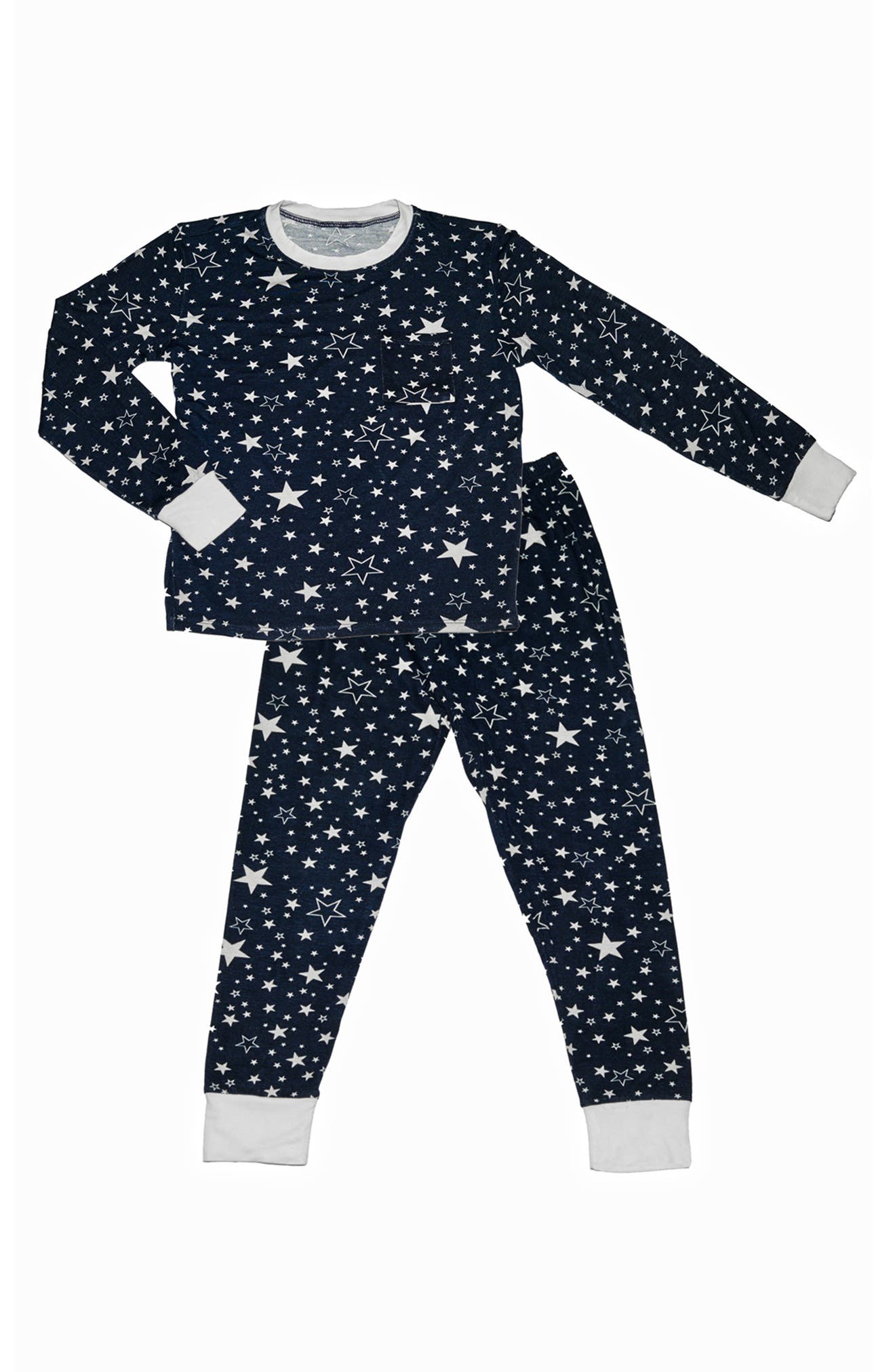 Fitted Two-Piece Pajamas, Main, color, STARS