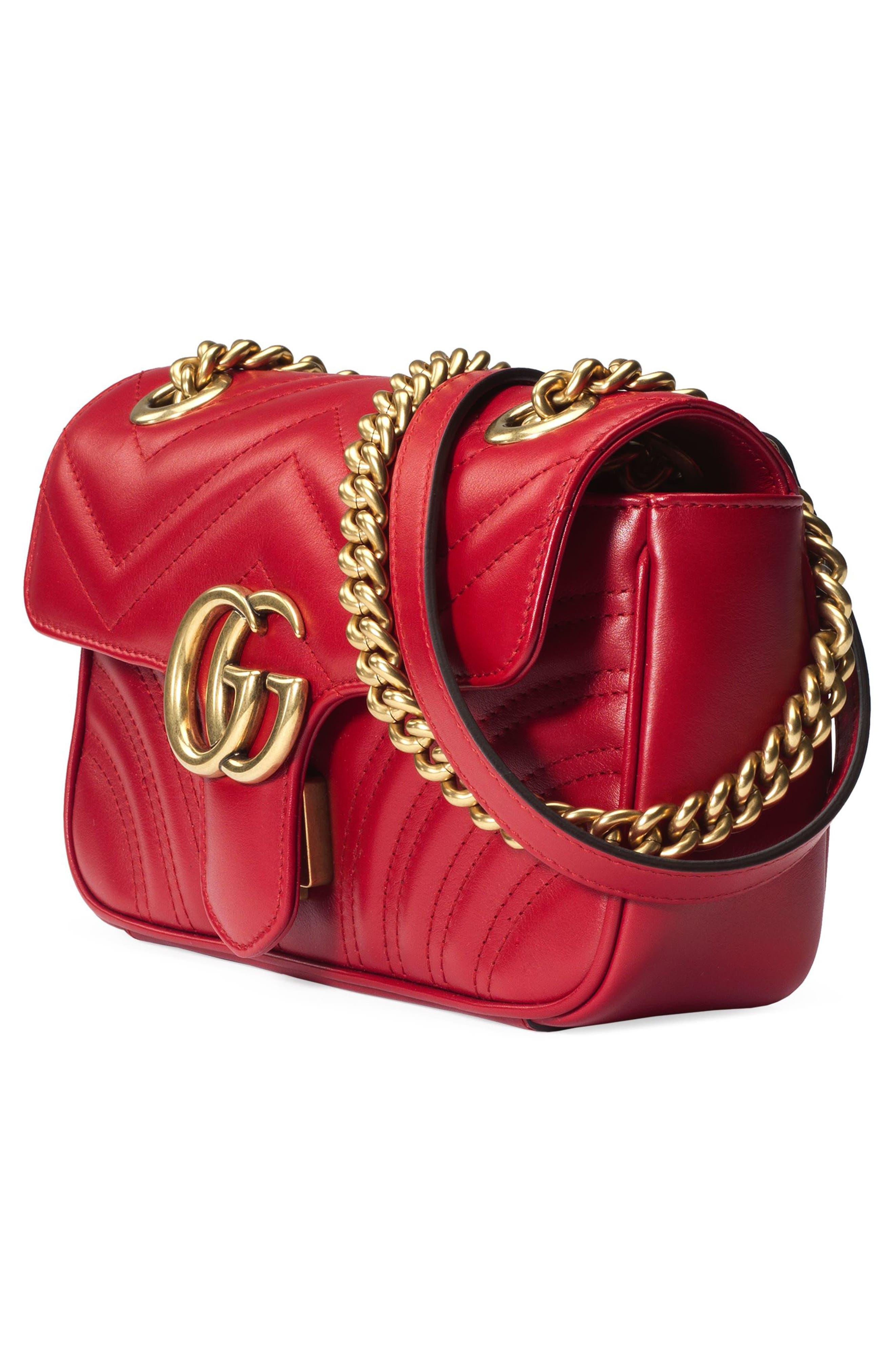 Mini GG Marmont 2.0 Matelassé Leather Shoulder Bag,                             Alternate thumbnail 5, color,                             HIBISCUS RED