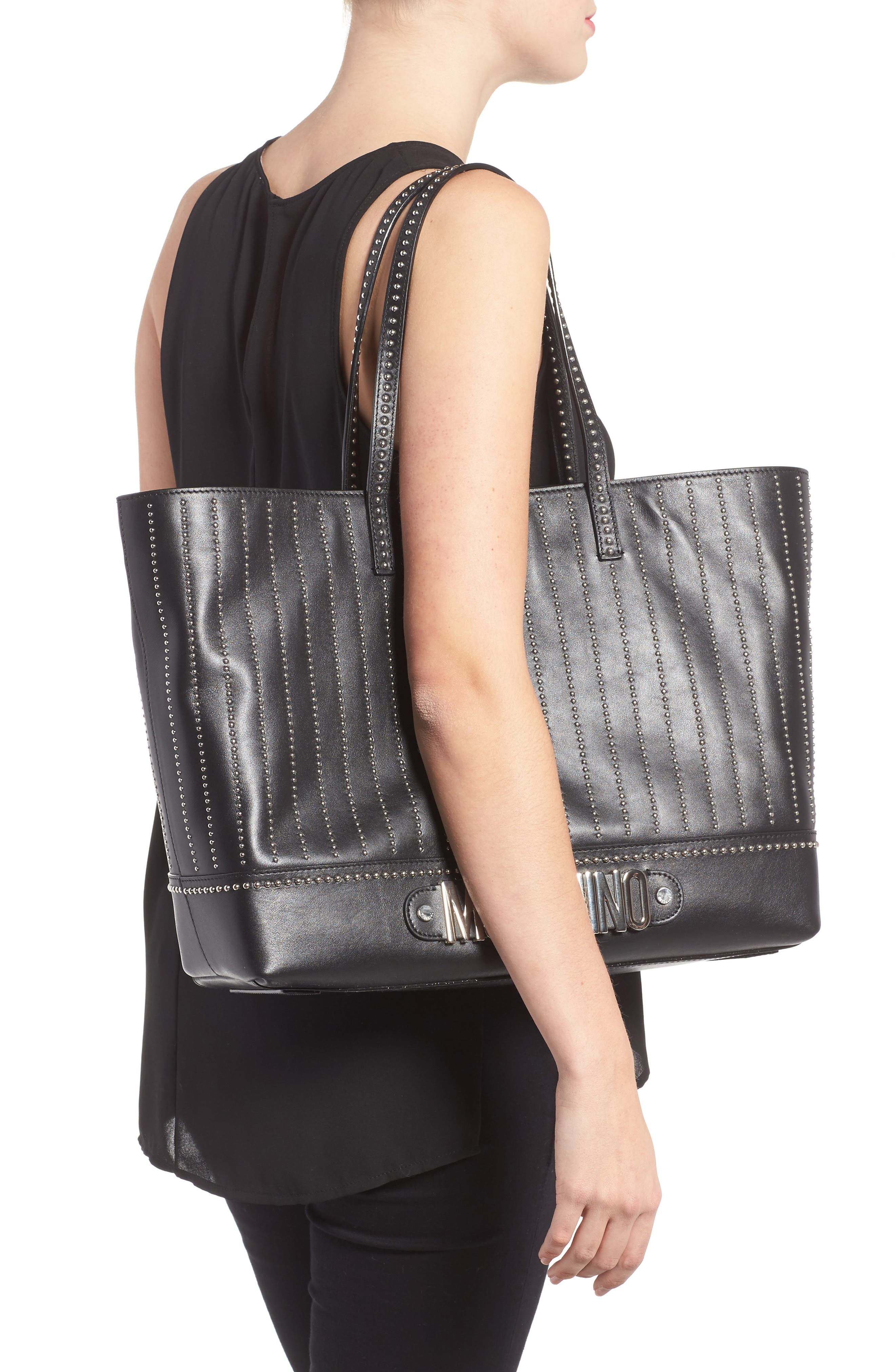 Studded Leather Tote,                             Alternate thumbnail 2, color,                             115