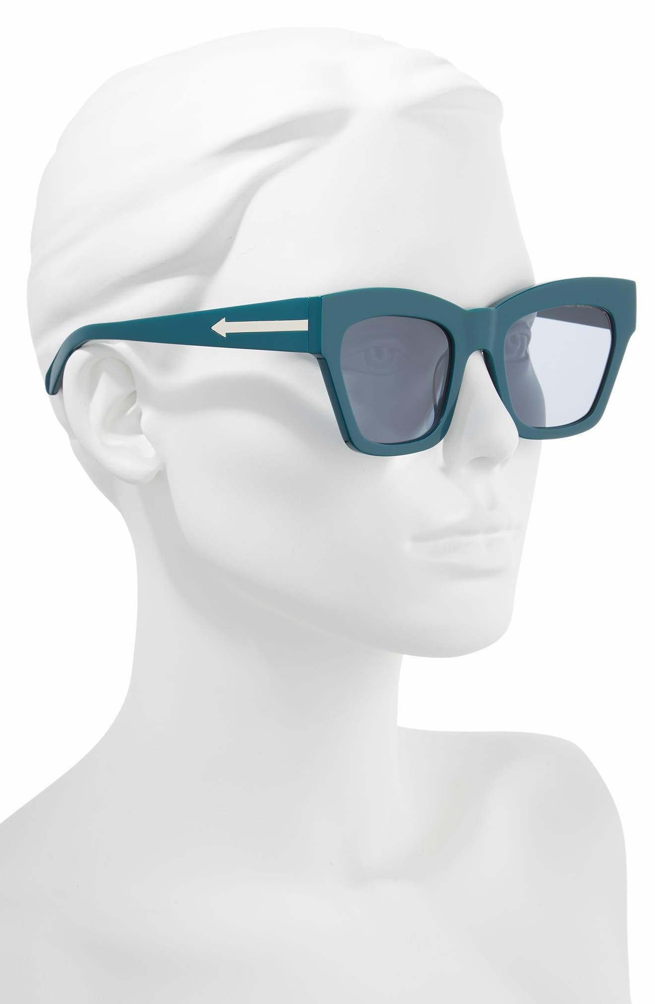 Treasure 52mm Cat Eye Sunglasses,                             Alternate thumbnail 2, color,                             EMERALD/ EMERALD
