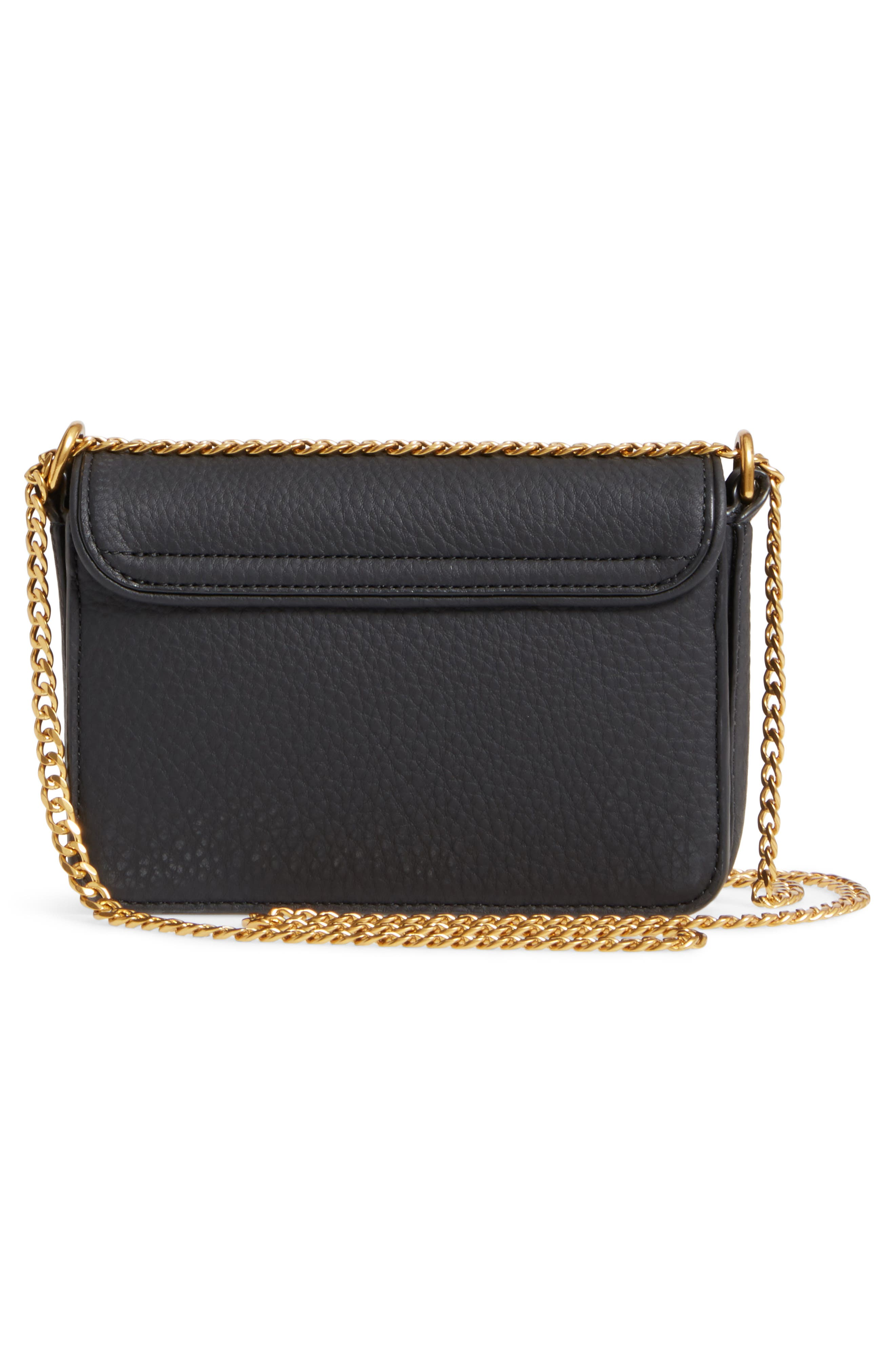 Mini Chelsea Leather Convertible Crossbody Bag,                             Alternate thumbnail 3, color,                             001