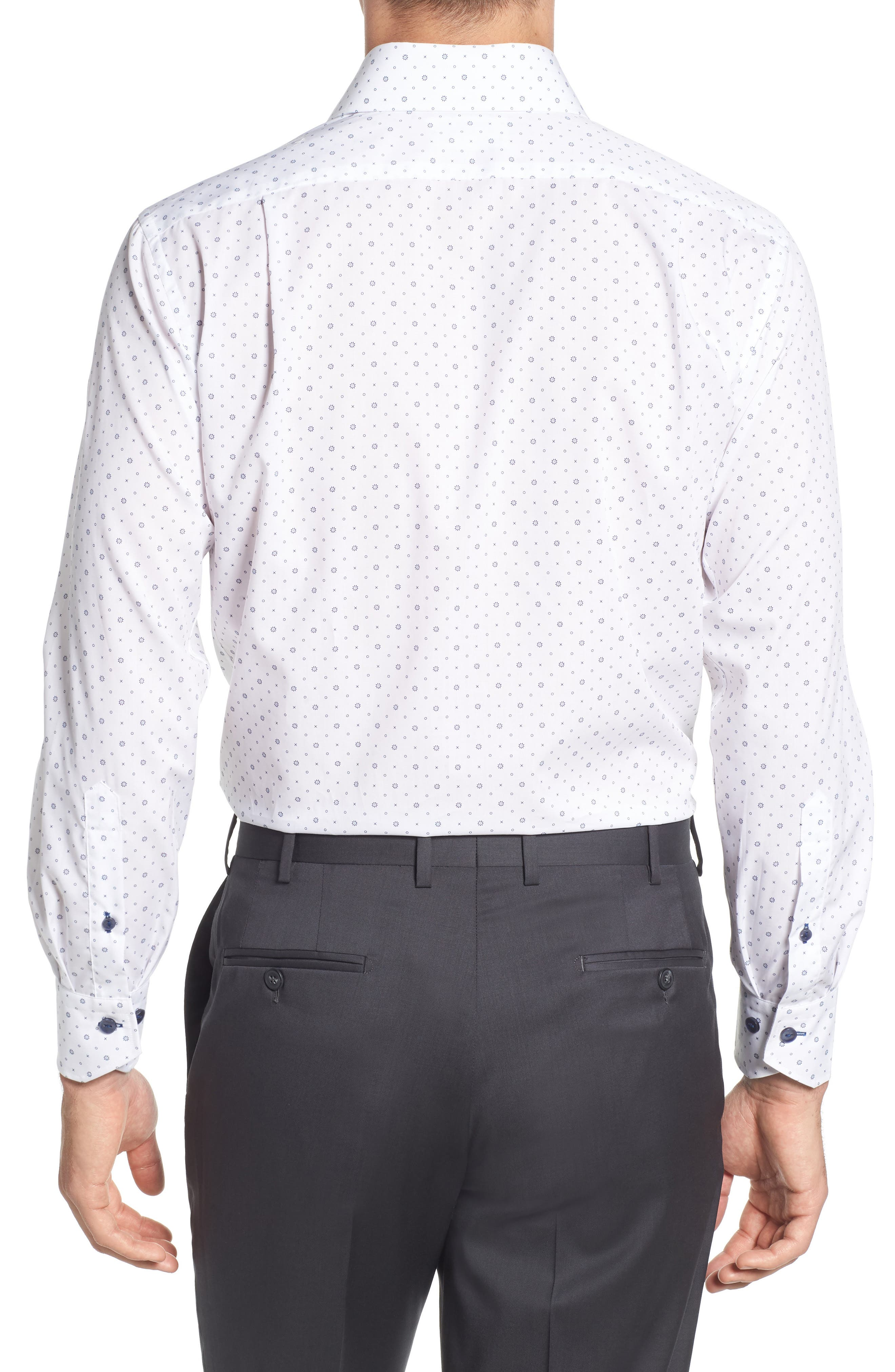 Trim Fit Floral Dress Shirt,                             Alternate thumbnail 3, color,                             100
